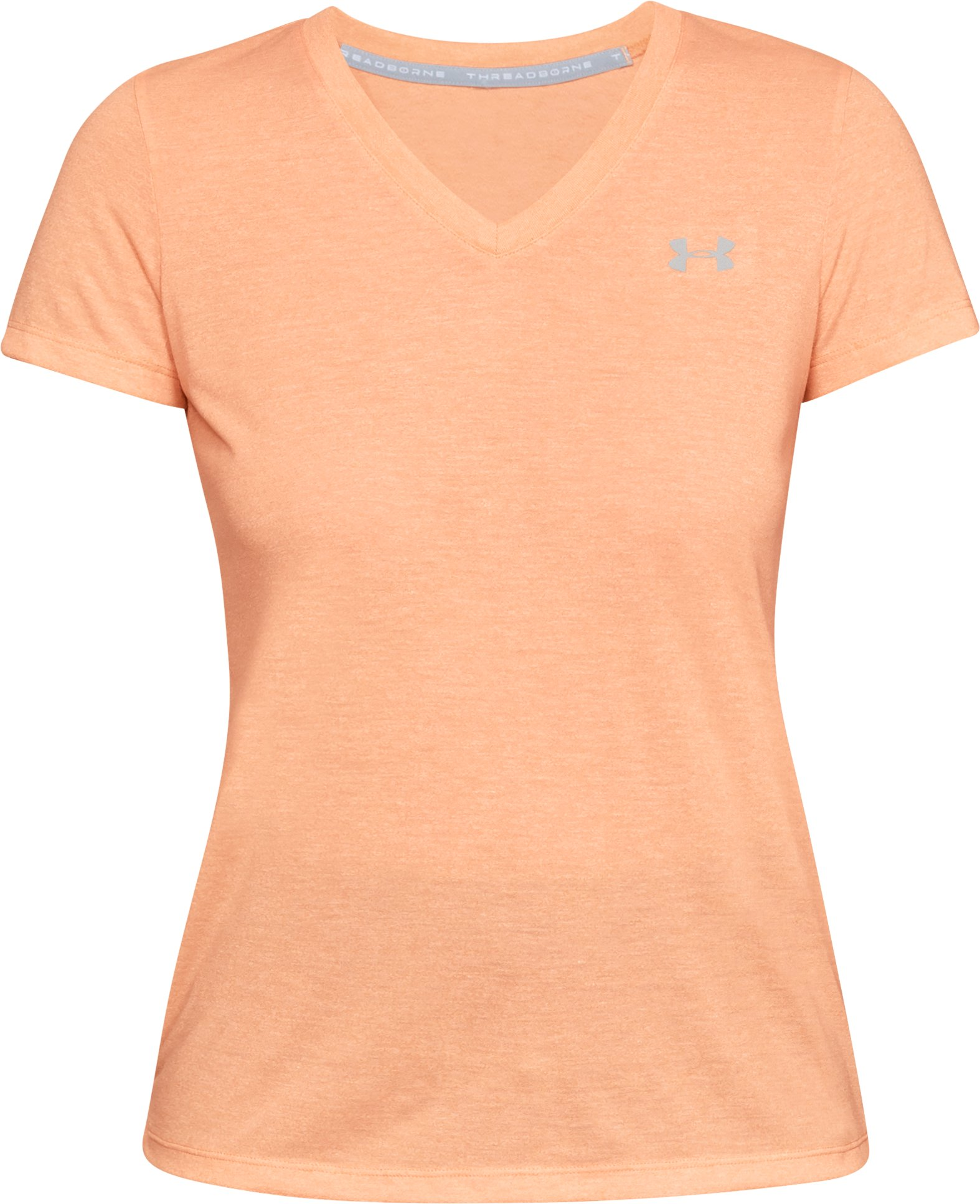 Women's UA Threadborne Train Twist V-Neck, PEACH HORIZON,