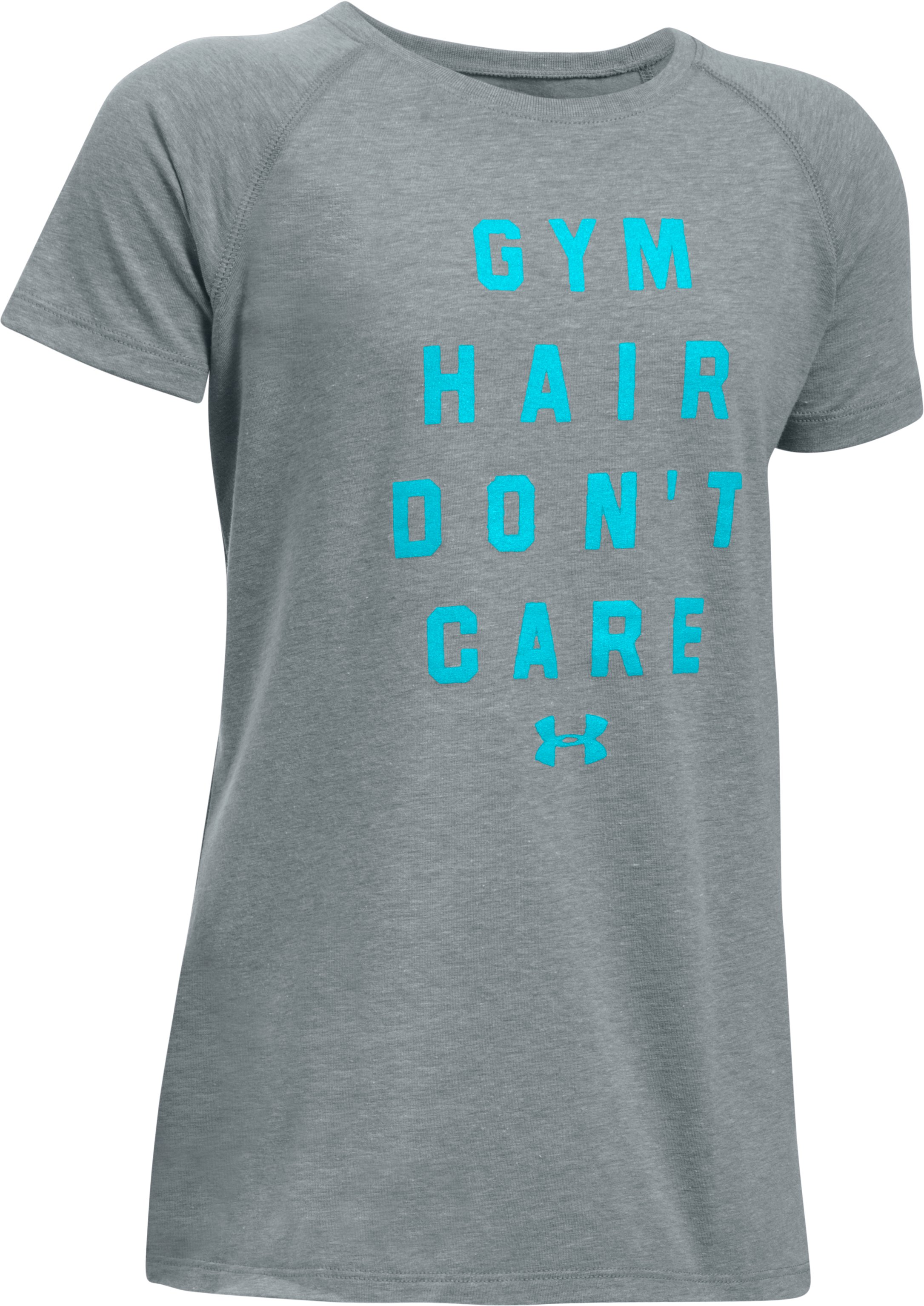 Girls' UA Gym Hair Don't Care Short Sleeve T-Shirt, True Gray Heather, undefined