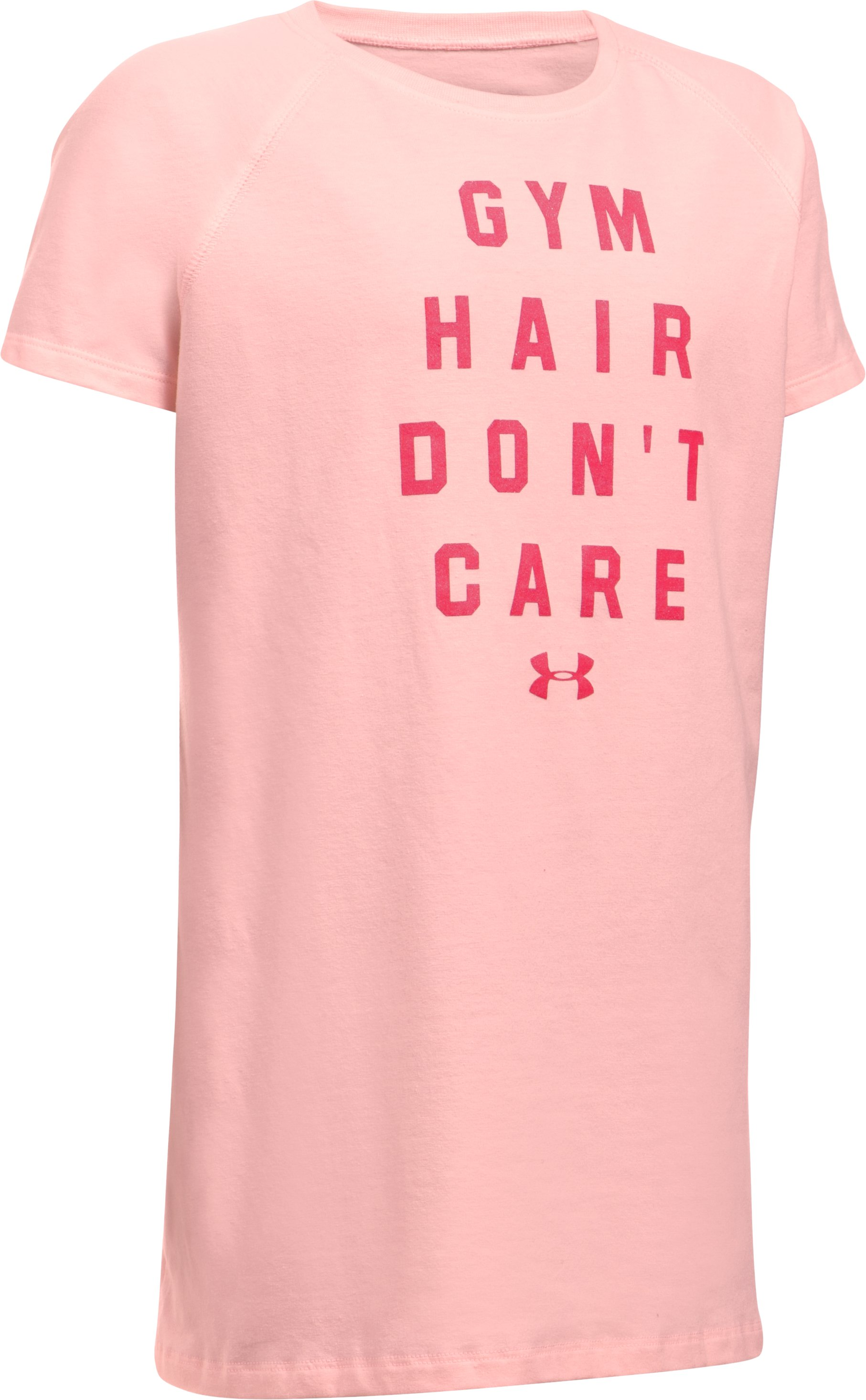 Girls' UA Gym Hair Don't Care T-Shirt, BALLET PINK