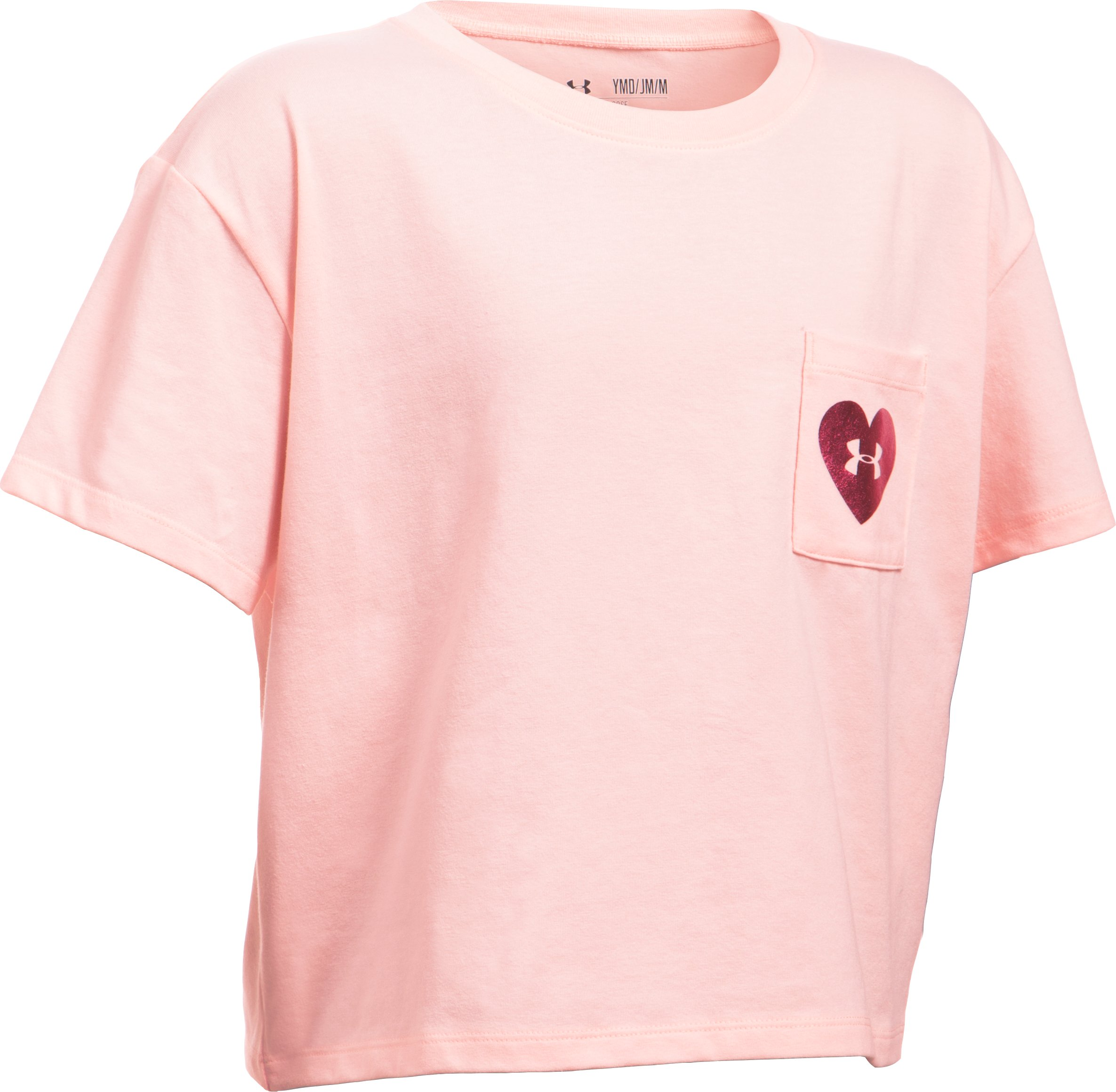 Girls' UA V-Day Pocket Short Sleeve T-Shirt, BALLET PINK,