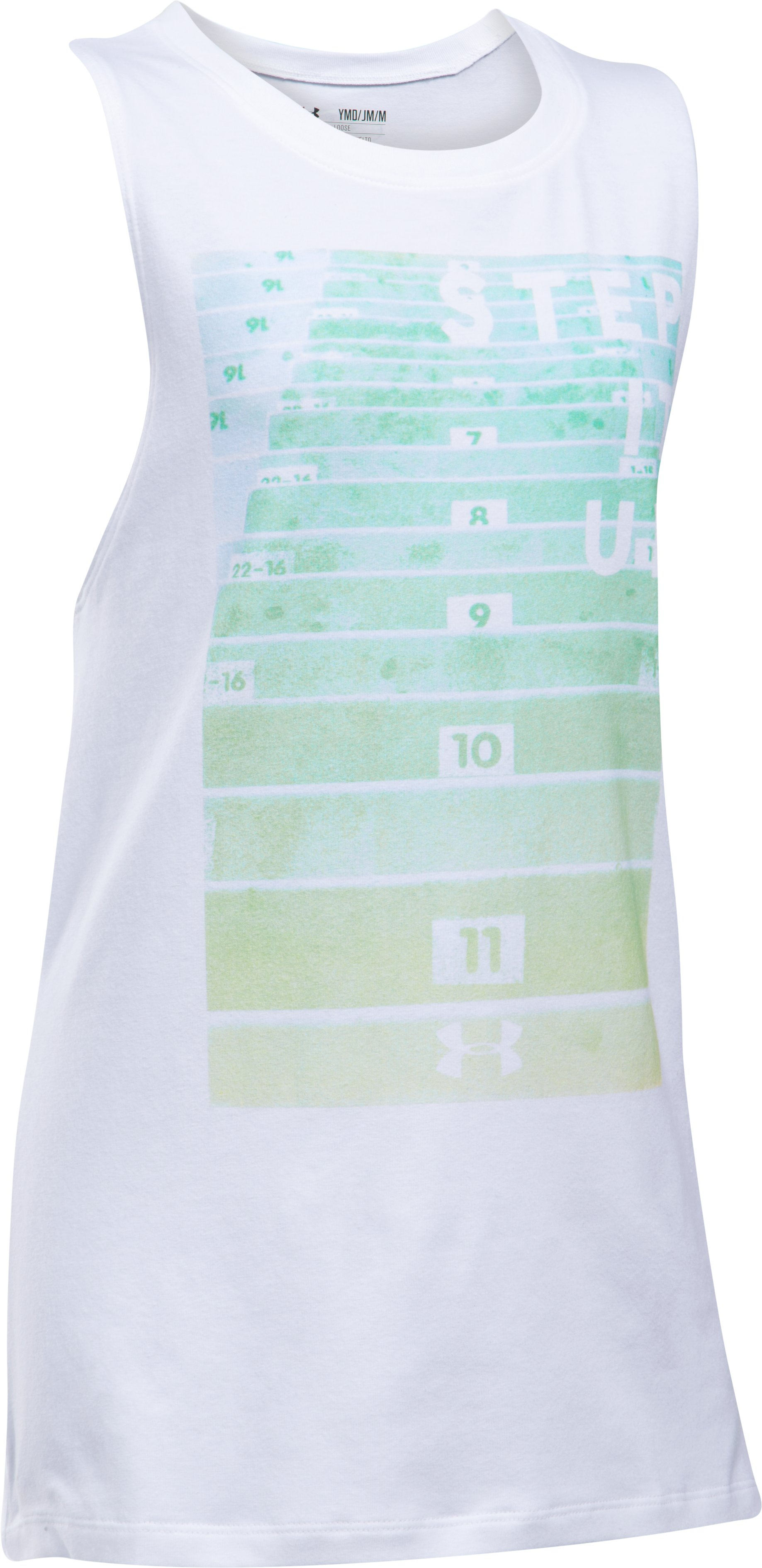 Girls' UA Step It Up Muscle Tank, White