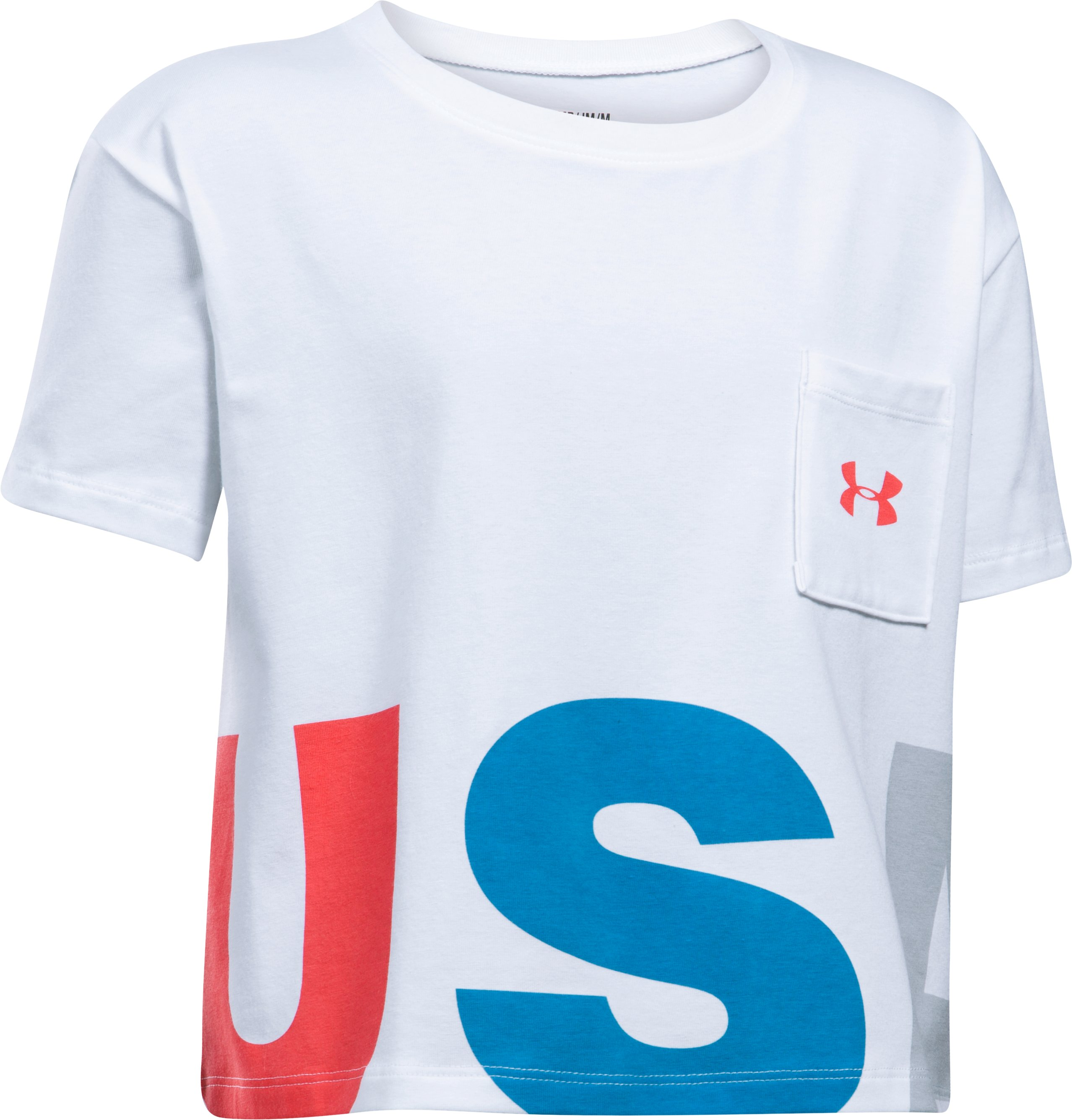 Girls' UA USA Crop Short Sleeve T-Shirt, White, undefined