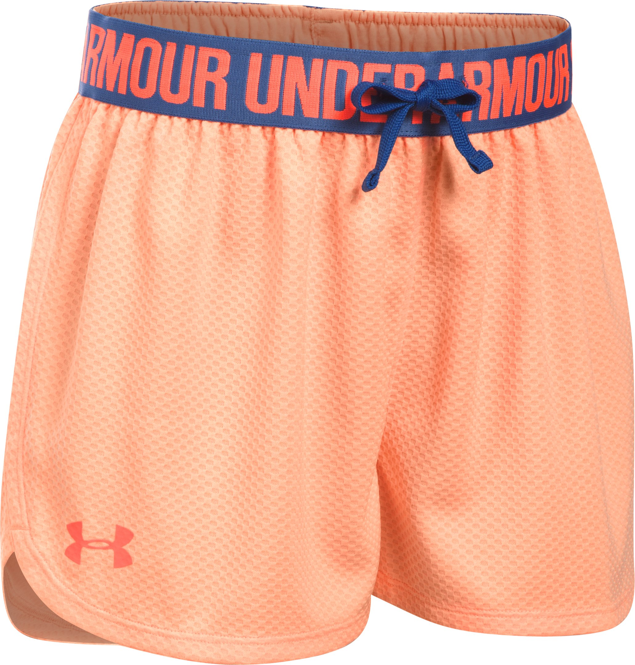 Girls' UA Play Up Mesh Shorts, PLAYFUL PEACH