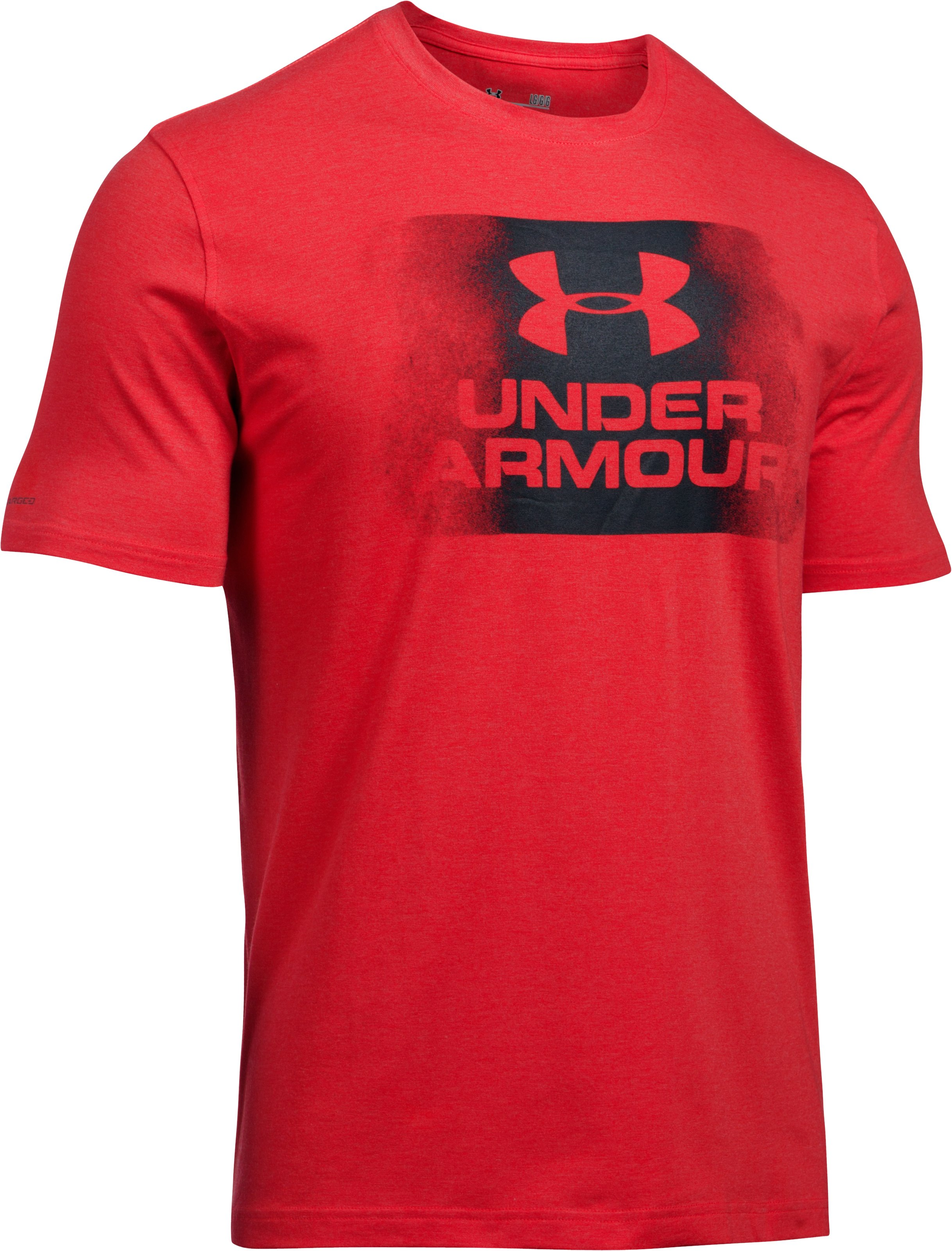 Men's UA Overspray Logo T-Shirt, RED MEDIUM HEATHER, undefined