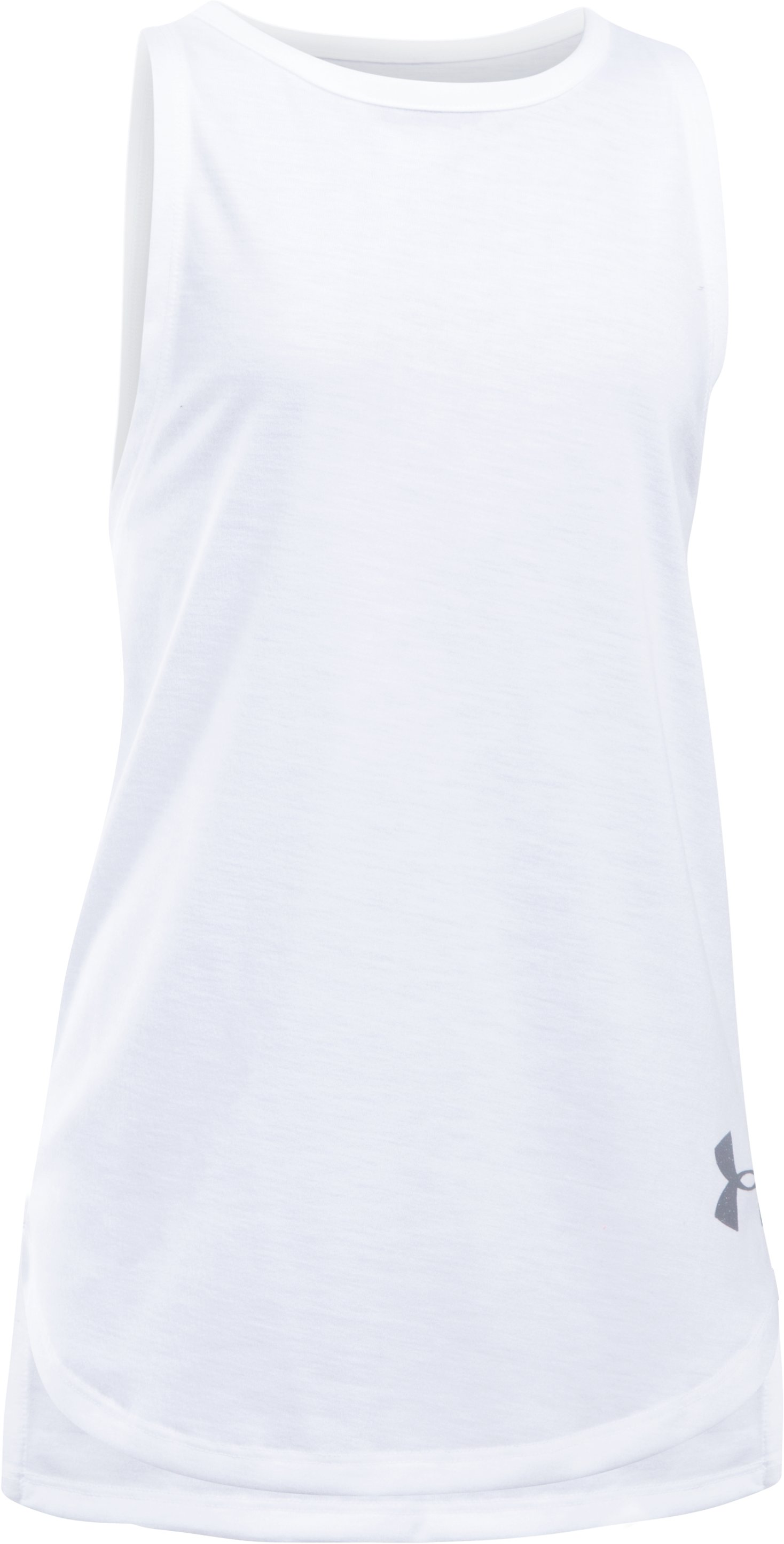 Girls' UA Threadborne Play Up Tank, White