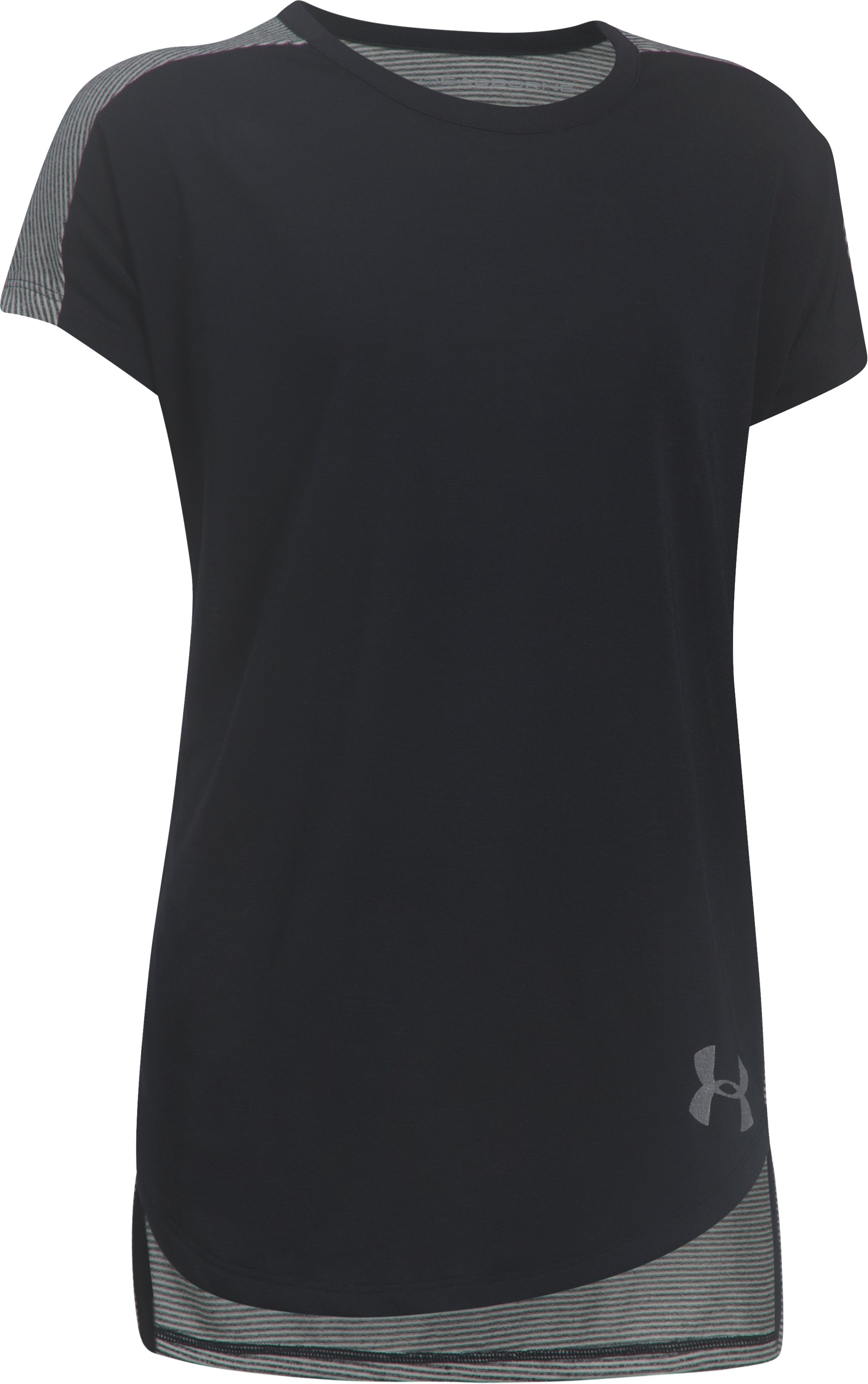 Girls' UA Threadborne Play Up T-Shirt, Black , undefined