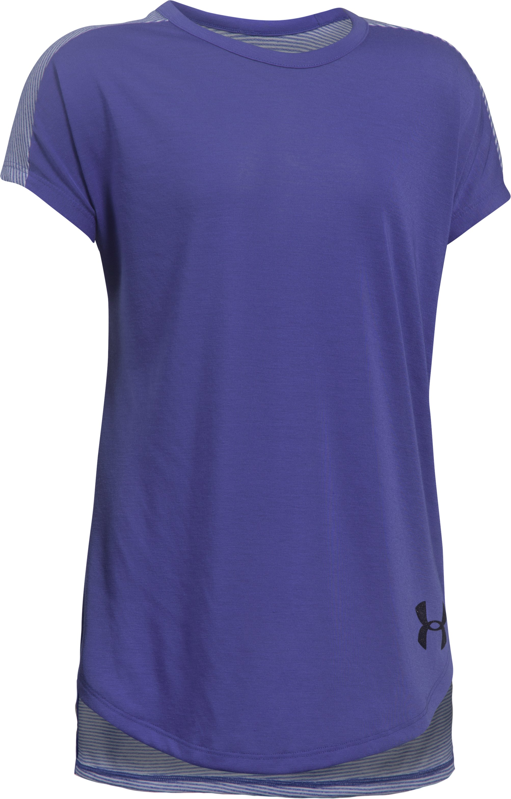 Girls' UA Threadborne Play Up T-Shirt, CONSTELLATION PURPLE