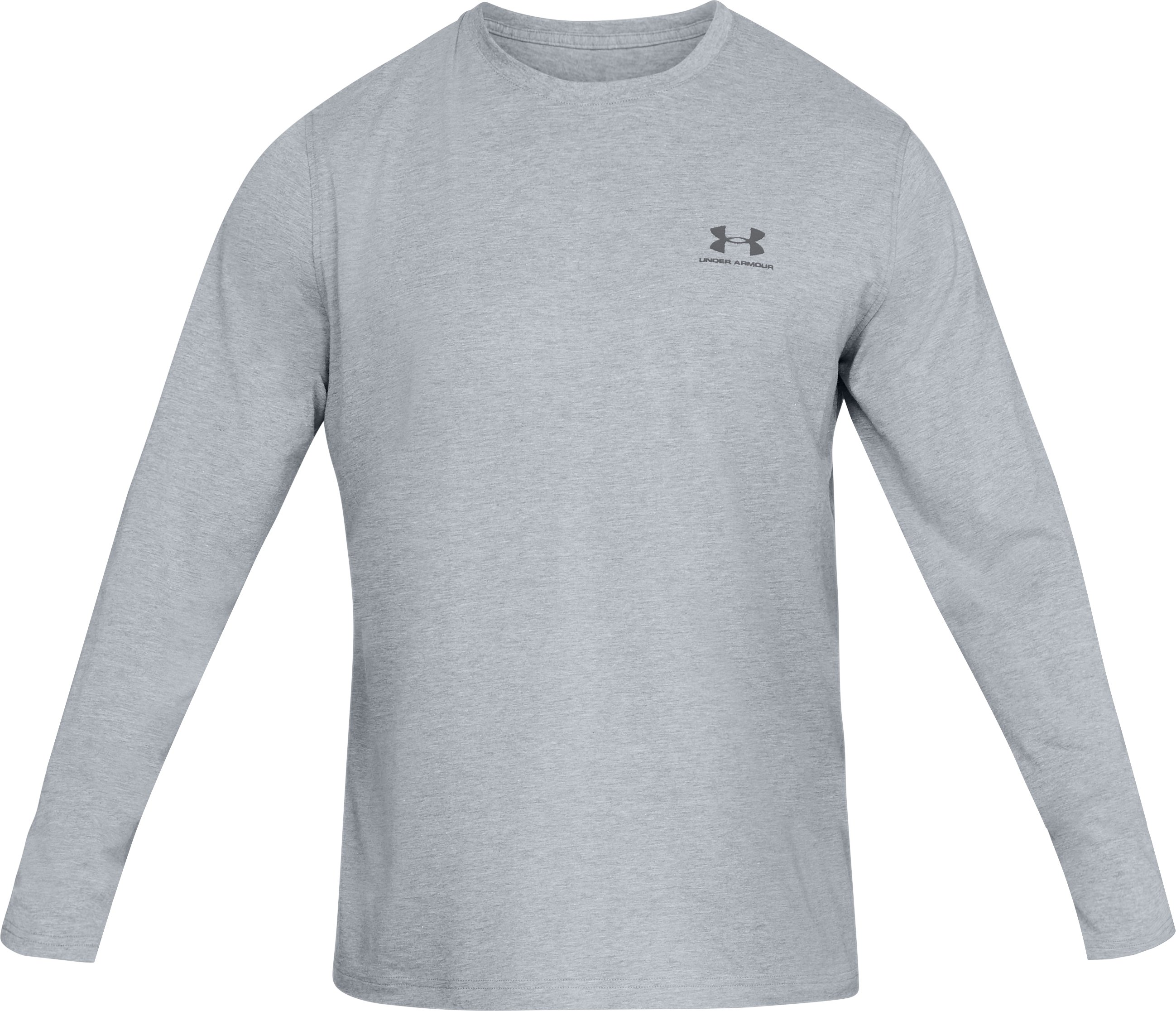 Men's UA Chest Logo Long Sleeve T-Shirt , STEEL LIGHT HEATHER,