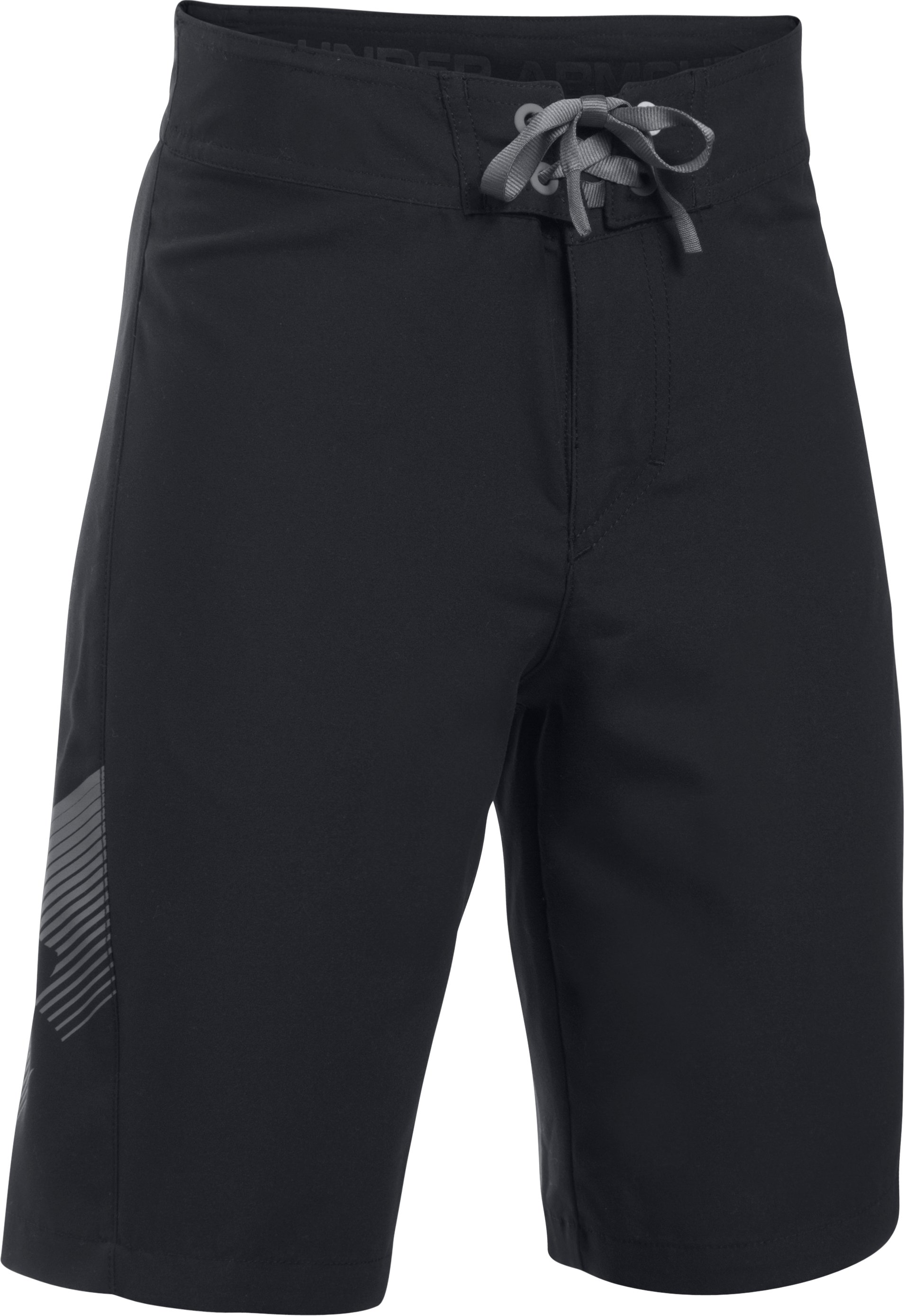 Boys' UA Rigid Boardshorts, Black , undefined
