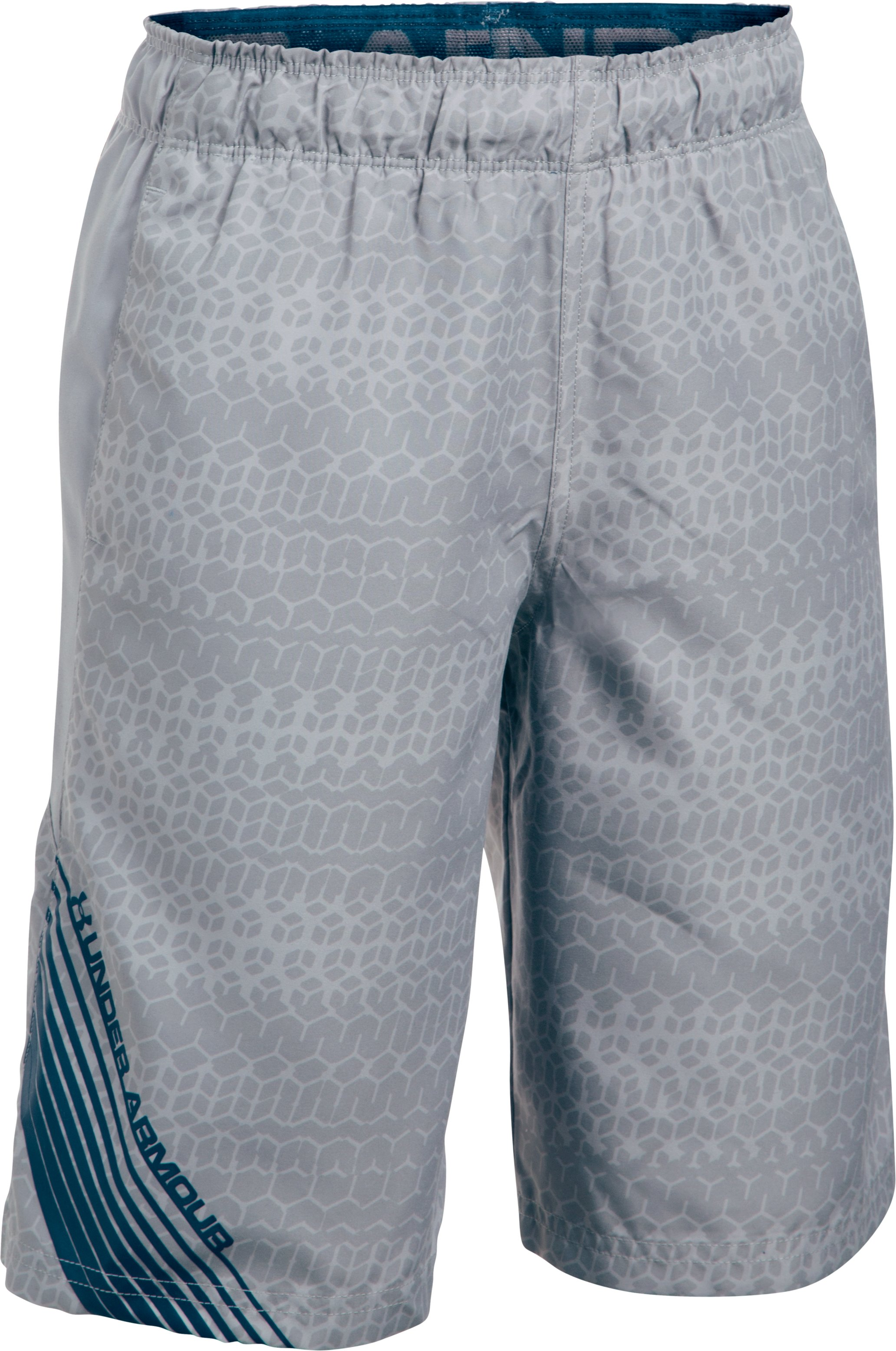 Boys' UA Mania Volley Boardshorts, OVERCAST GRAY, zoomed image