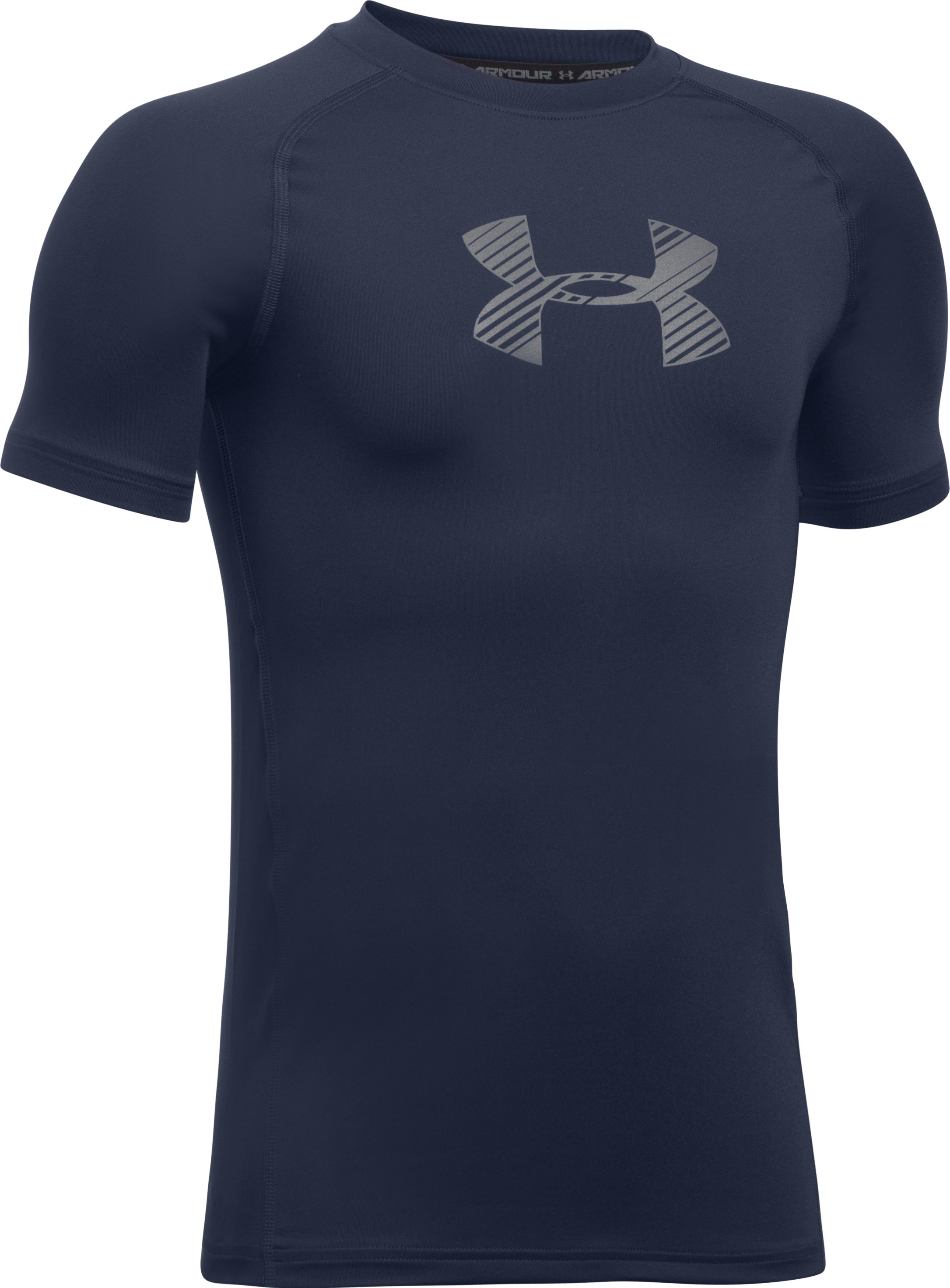 Boys' HeatGear® Armour Short Sleeve, Midnight Navy, undefined