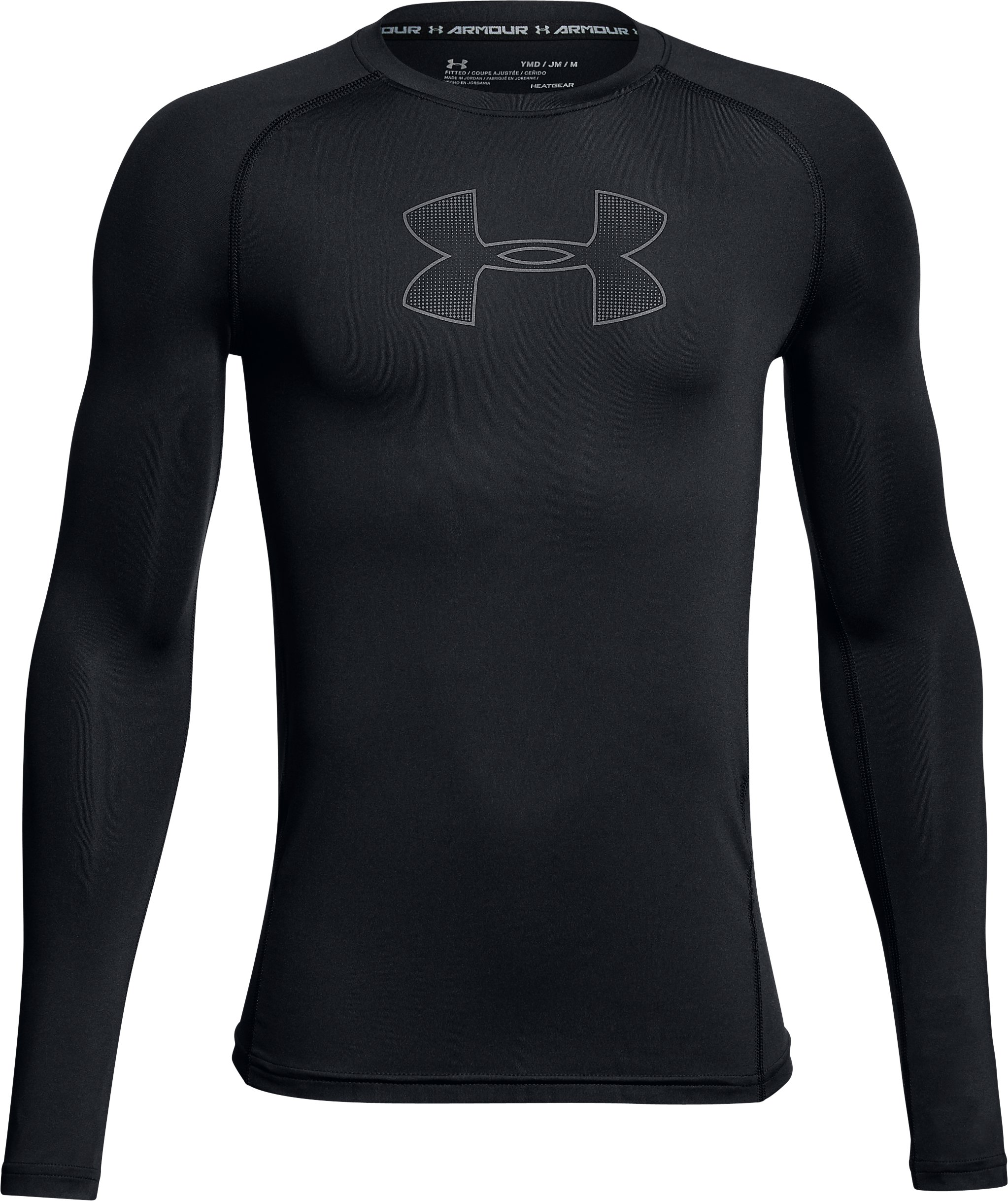 Boys' HeatGear® Armour Long Sleeve, Black ,