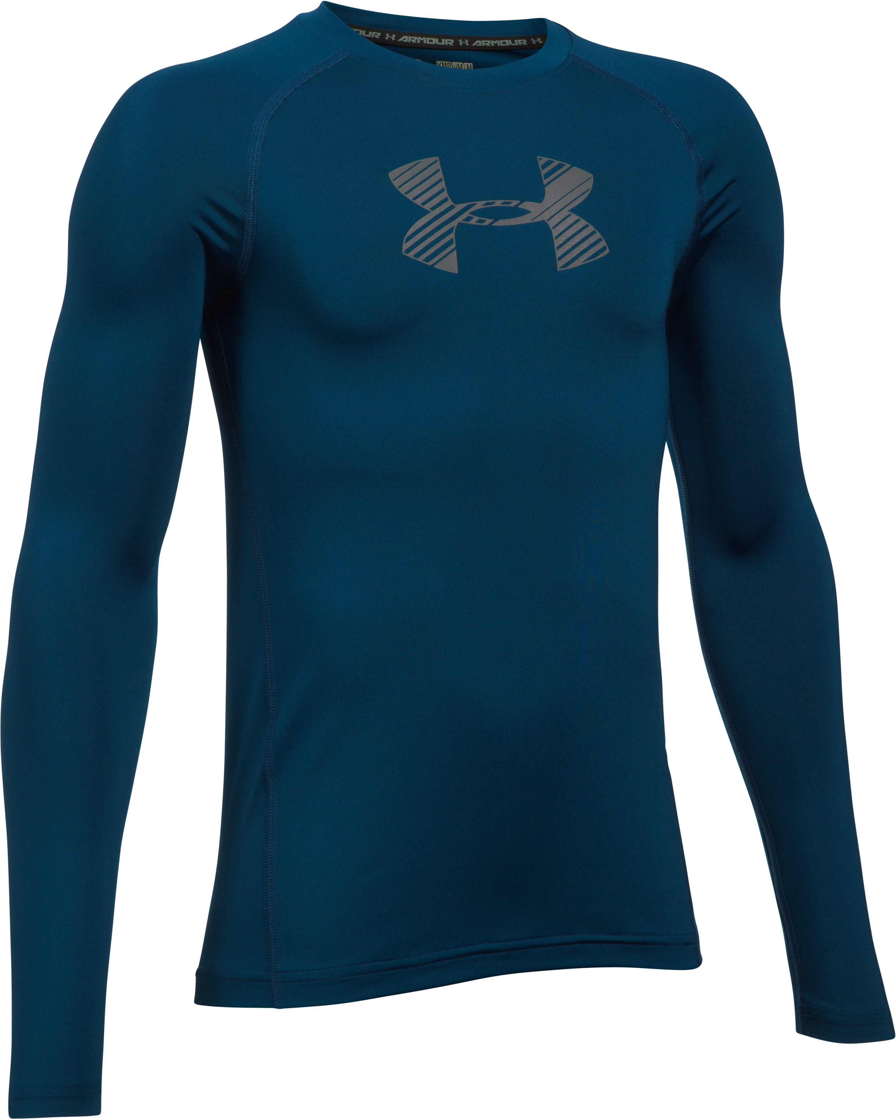 Boys' HeatGear® Armour Long Sleeve, BLACKOUT NAVY