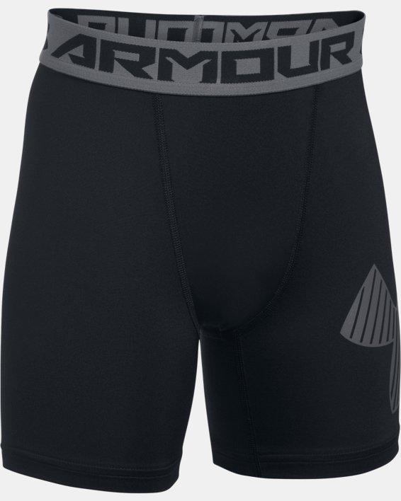 Boys' HeatGear® Armour Mid Shorts, Black, pdpMainDesktop image number 0