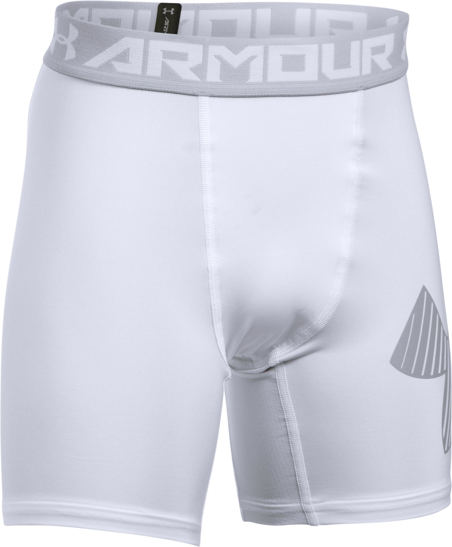 Boys' HeatGear® Armour Mid Shorts, White, zoomed image