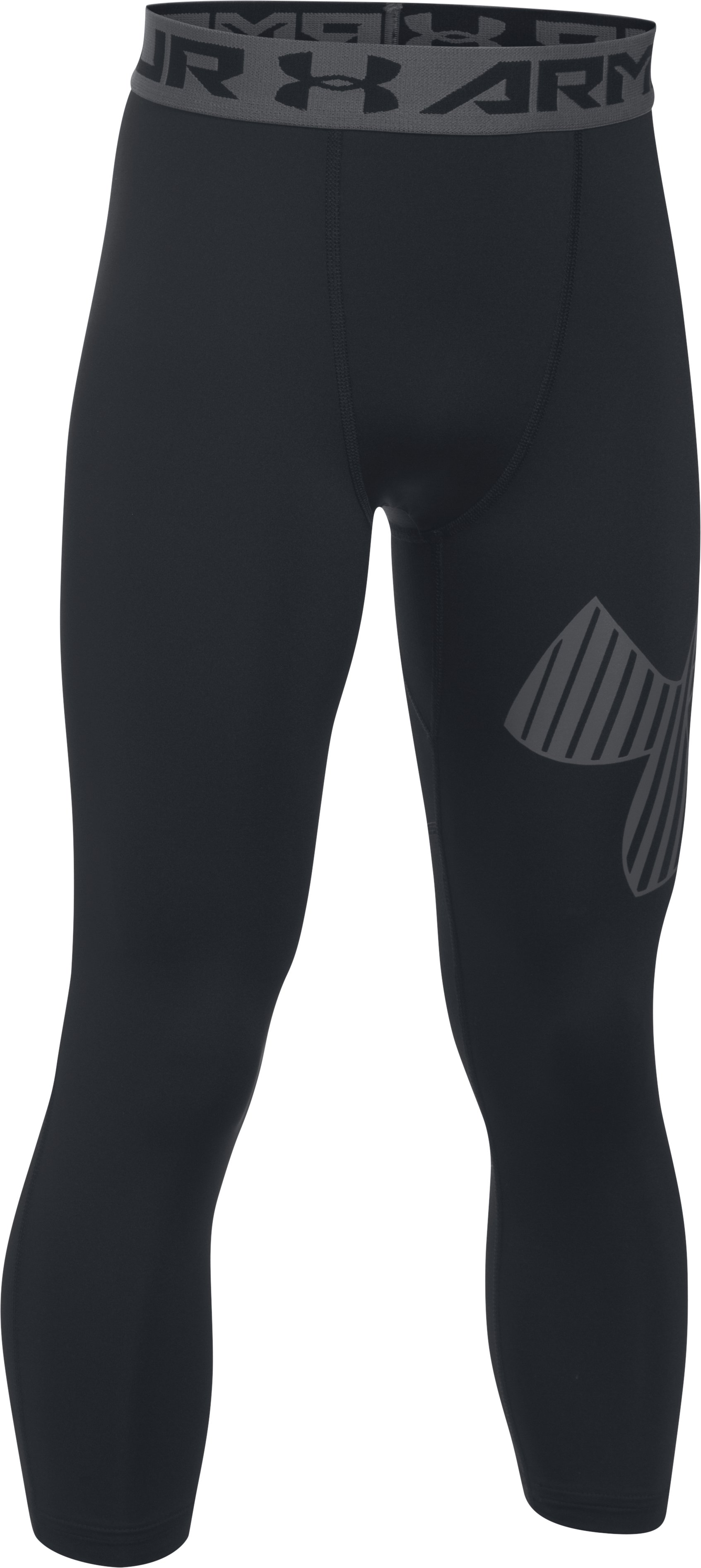 Boys' HeatGear® Armour Logo ¾ Leggings, Black , zoomed image