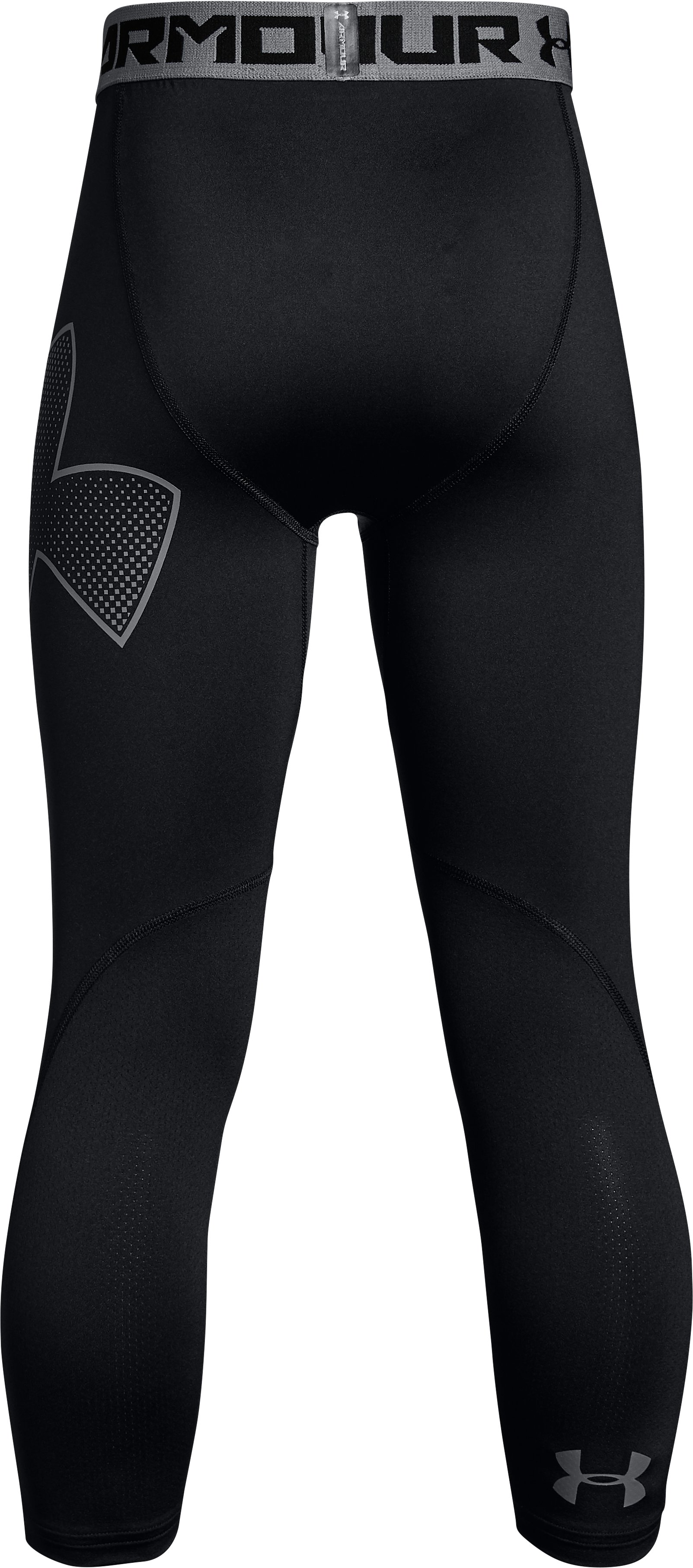 Boys' HeatGear® Armour ¾ Logo Leggings, Black , undefined