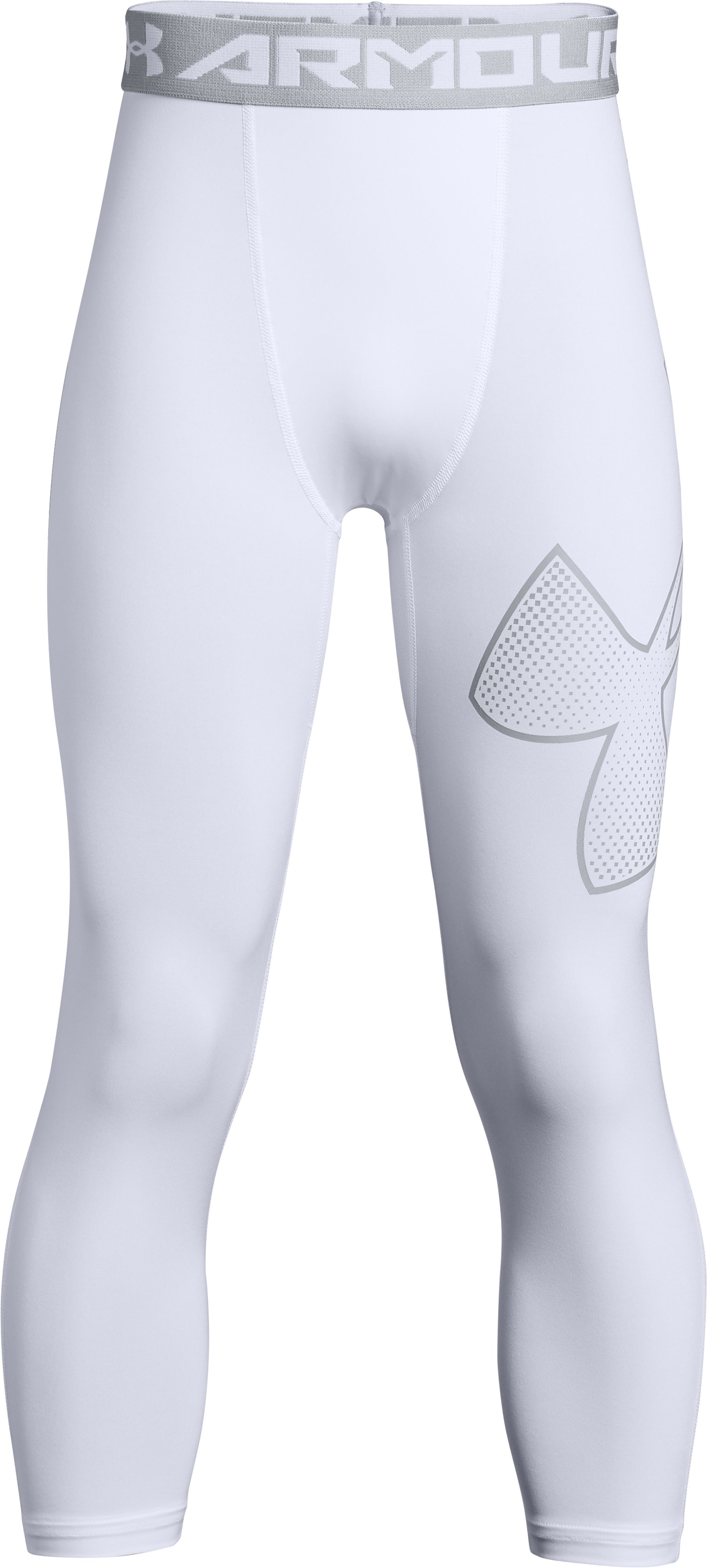 Boys' HeatGear® Armour ¾ Logo Leggings, White,