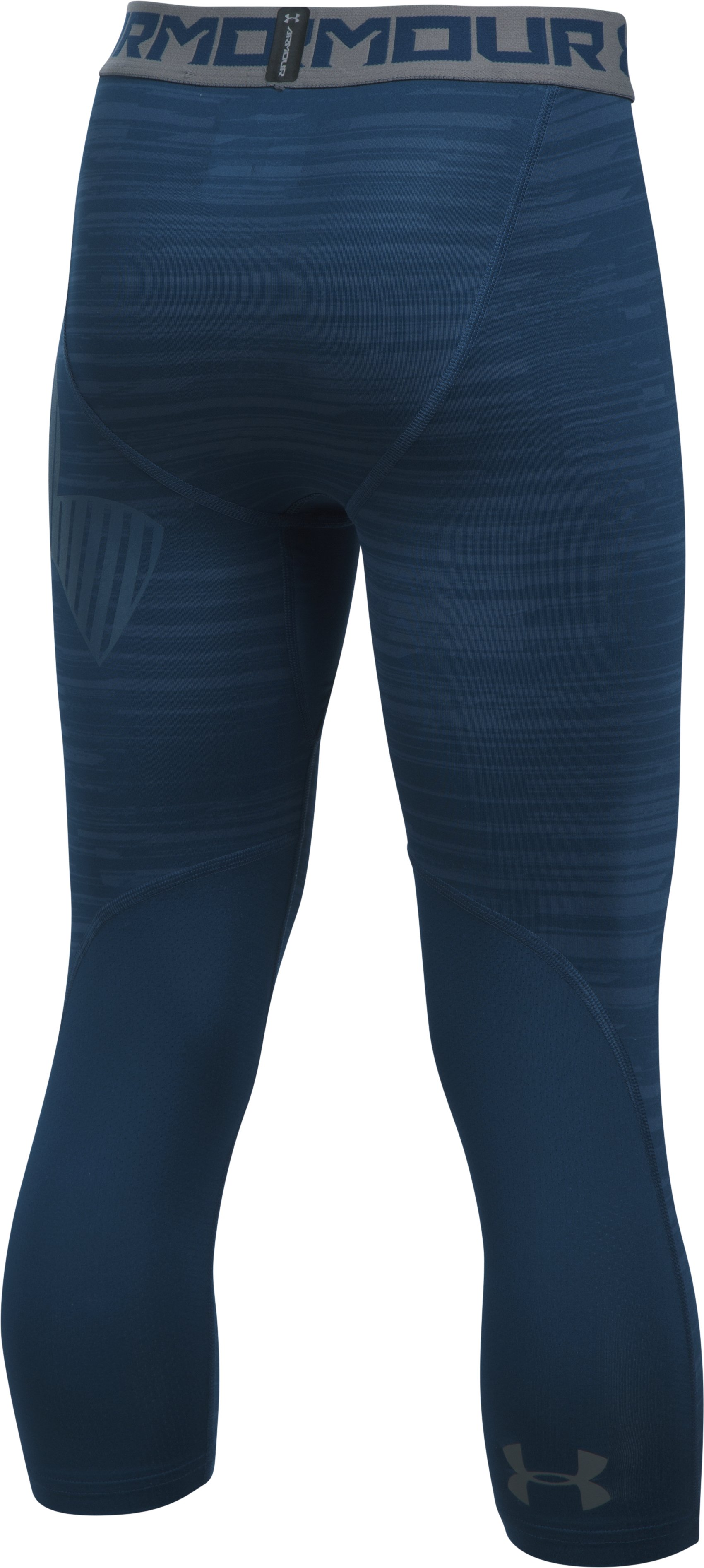 Boys' HeatGear® Armour HeatGear® Printed ¾ Leggings, BLACKOUT NAVY,