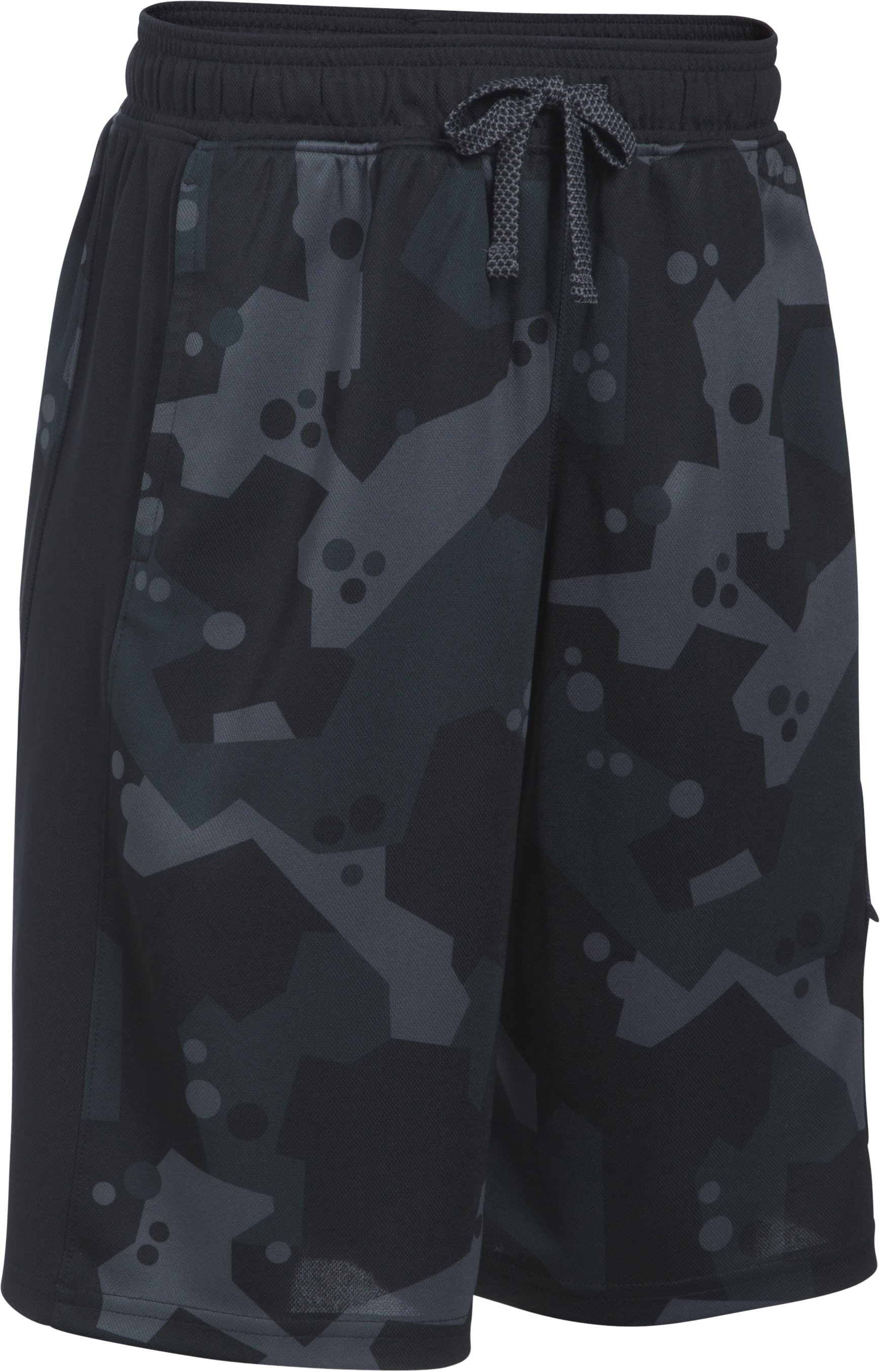 Boys' UA Pursuit Cargo Shorts, BLACK MEDIUM HEATHER, zoomed image