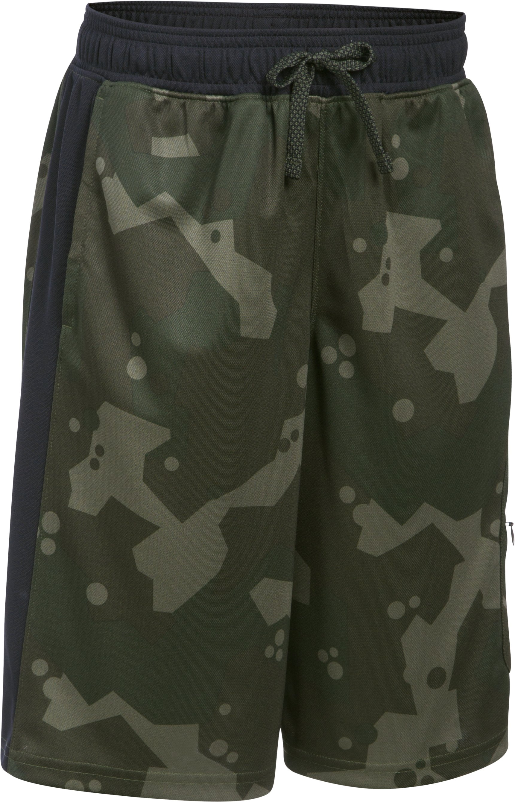 Boys' UA Pursuit Cargo Shorts, DOWNTOWN GREEN MEDIUM HEATHER