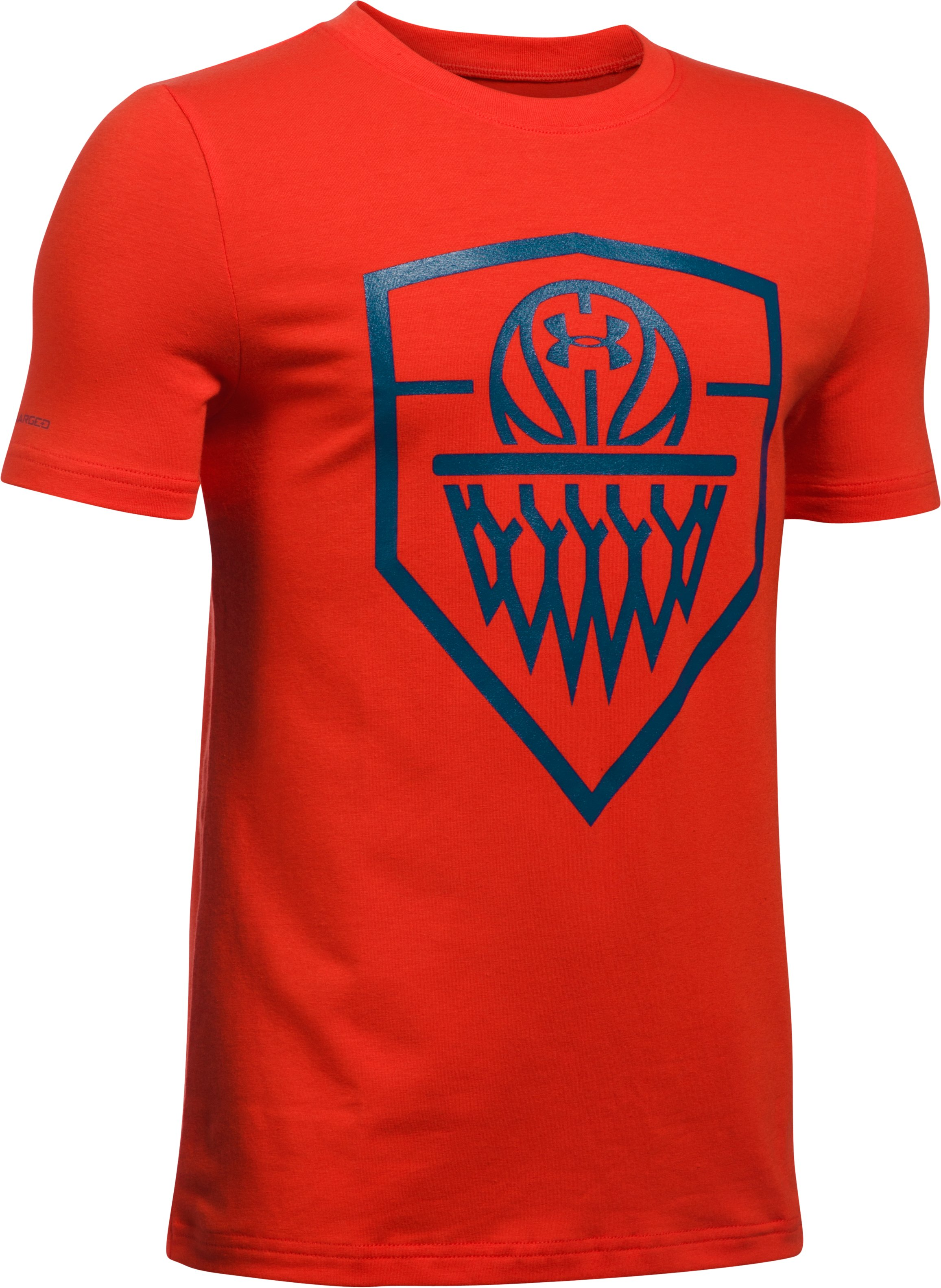Boys' UA Basketball Badge T-Shirt, Dark Orange