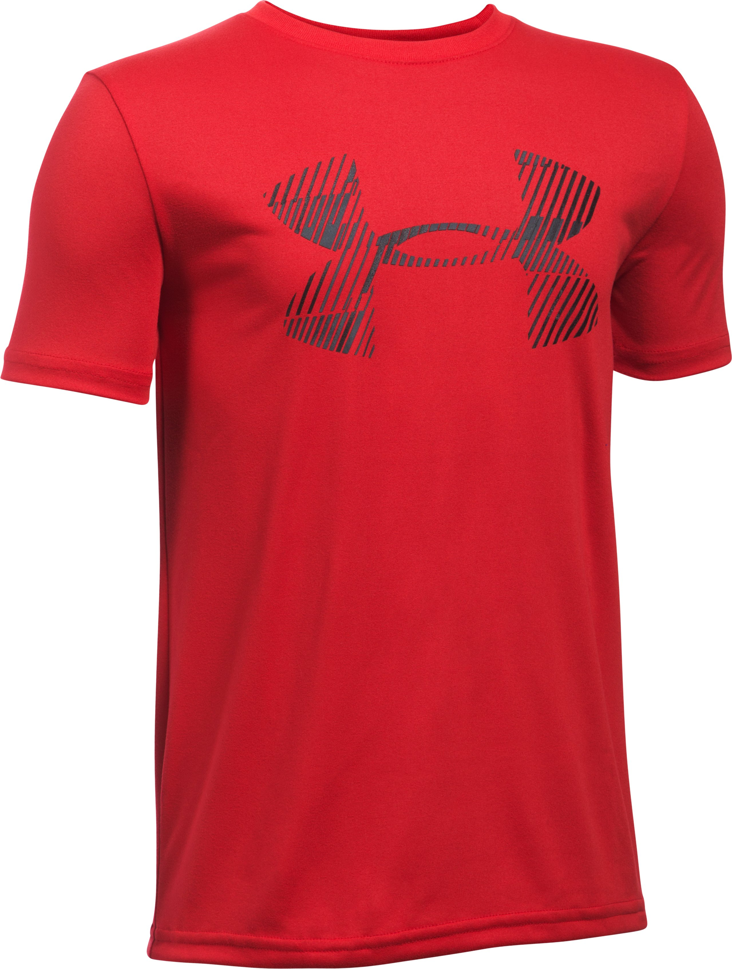 Boys' UA Combo Logo Short Sleeve T-Shirt, Red, undefined