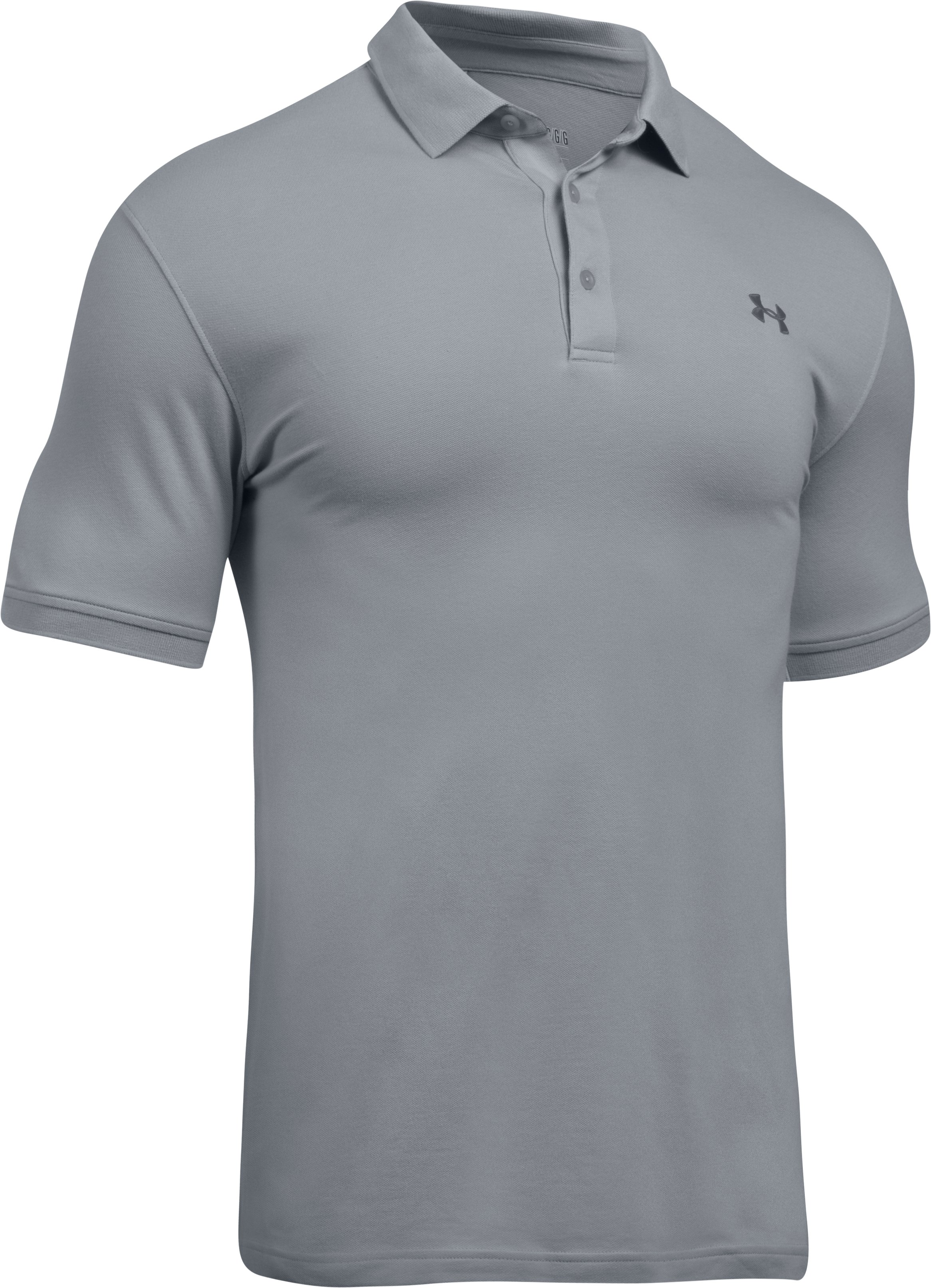 Men's UA Performance Cotton Polo, OVERCAST GRAY,