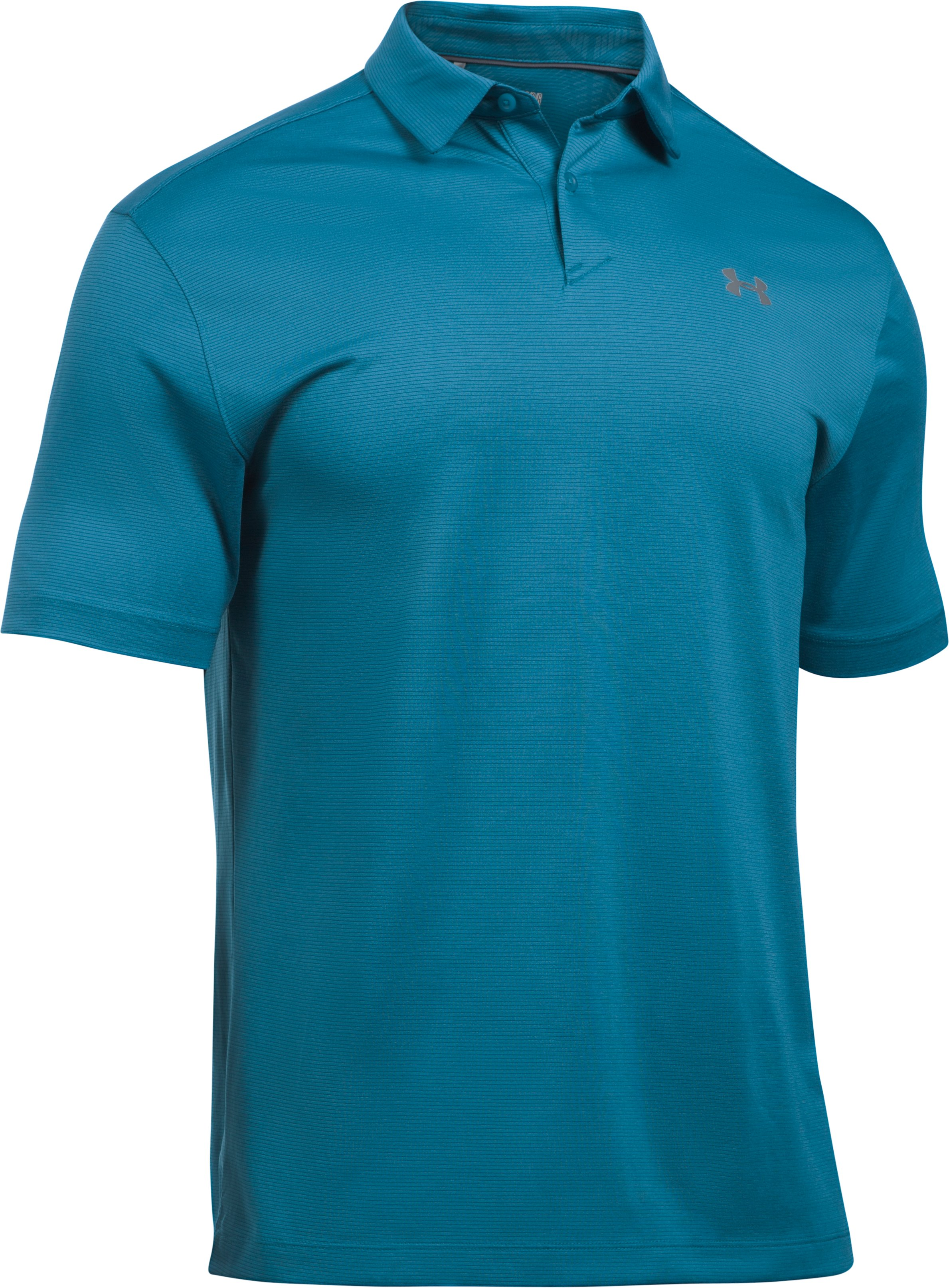 Men's UA CoolSwitch Microthread Polo, BAYOU BLUE