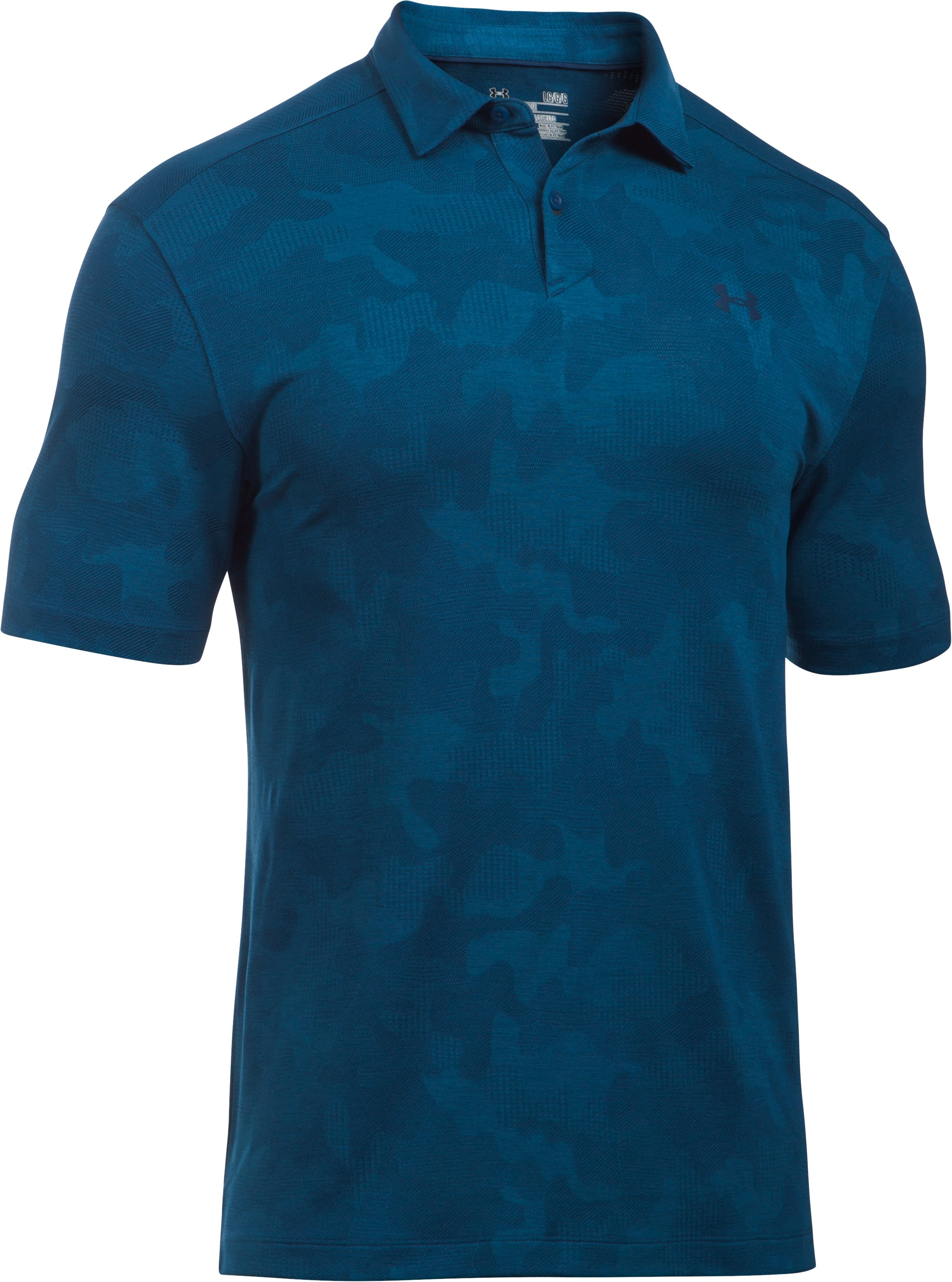 Men's UA Threadborne Camo Polo, BLACKOUT NAVY