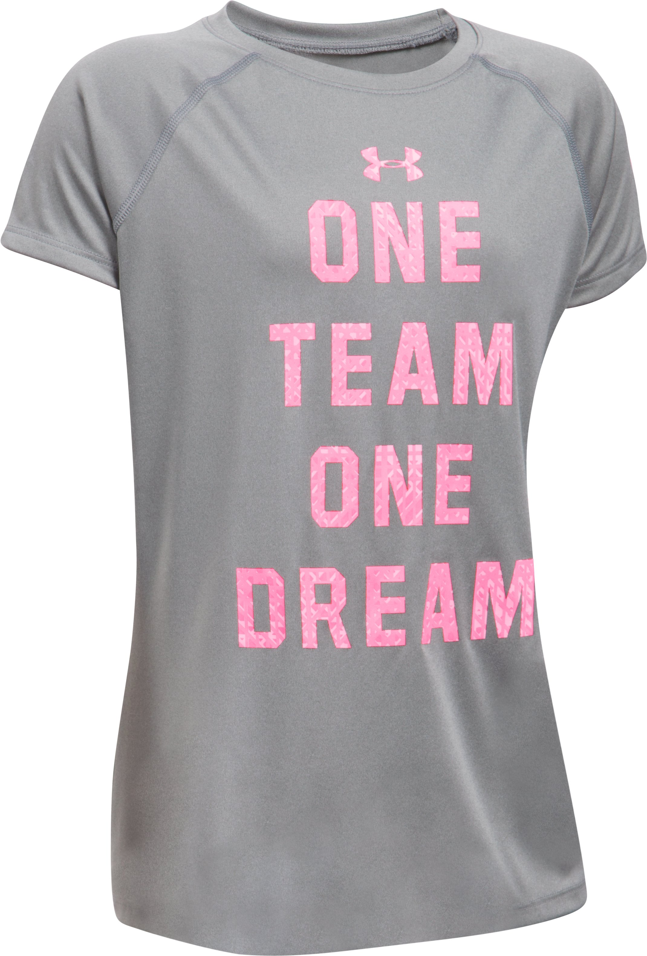 Girls' UA One Team T-Shirt, True Gray Heather
