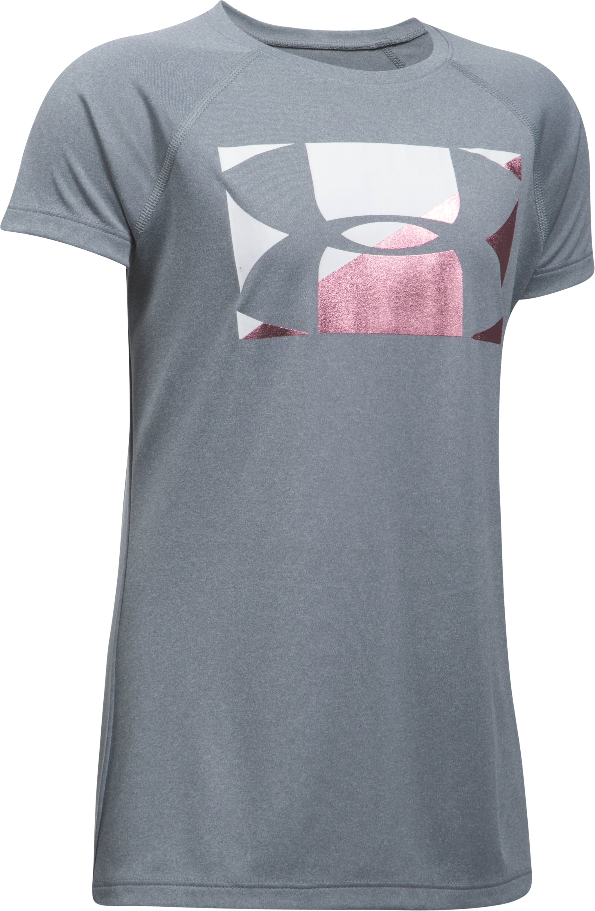 Girls' UA Big Logo T-Shirt, STEEL LIGHT HEATHER