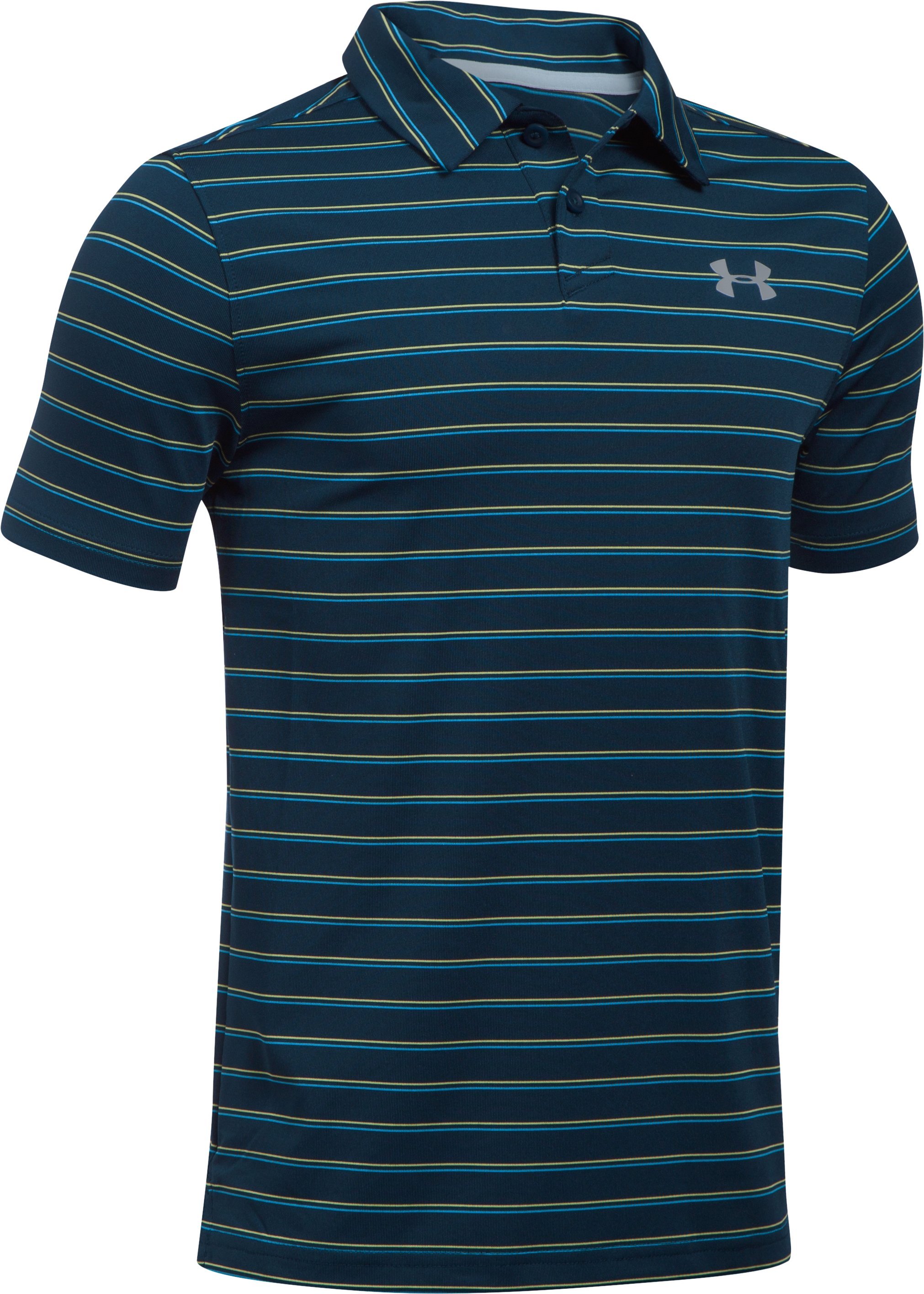 Boys' UA Putting Stripe Polo Shirt, Academy, zoomed image
