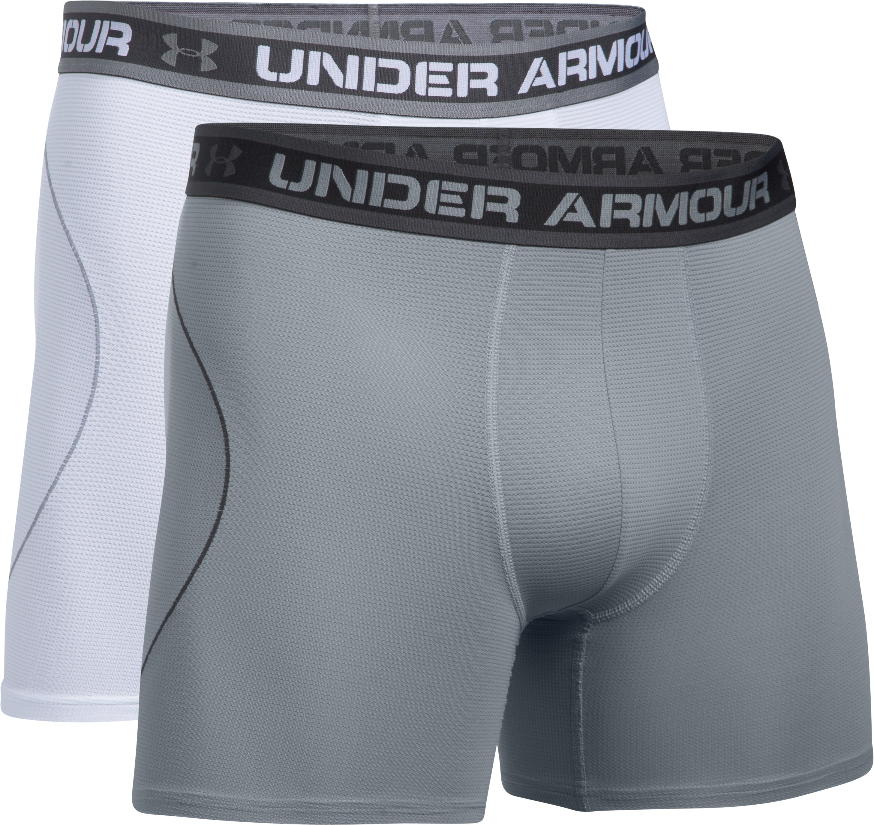 "Men's UA Iso-Chill Mesh 6"" Boxerjock® – 2-Pack, White,"