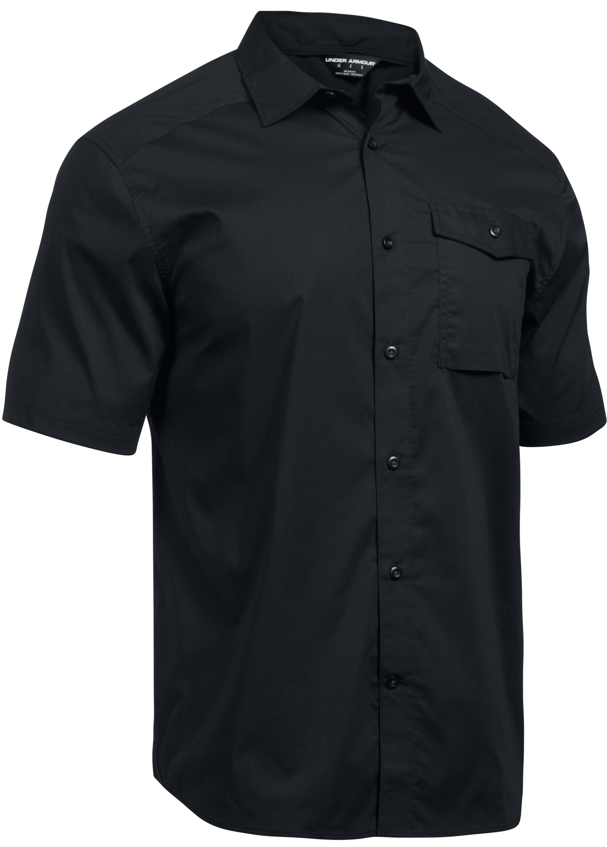 Men's UA Tactical Button-Down Short Sleeve, Black ,