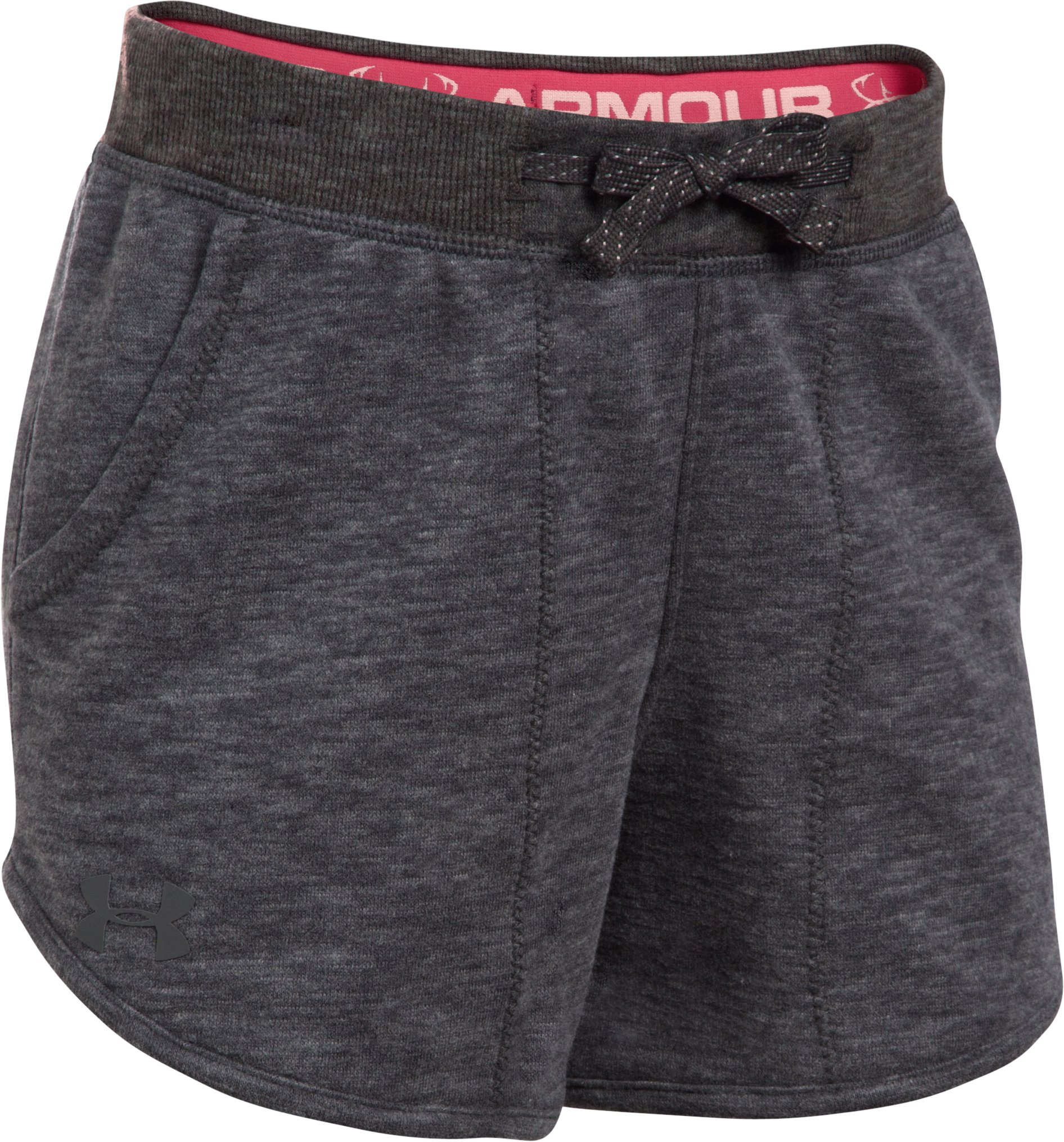 Girls' UA Shoreline Terry Shorts, Carbon Heather,