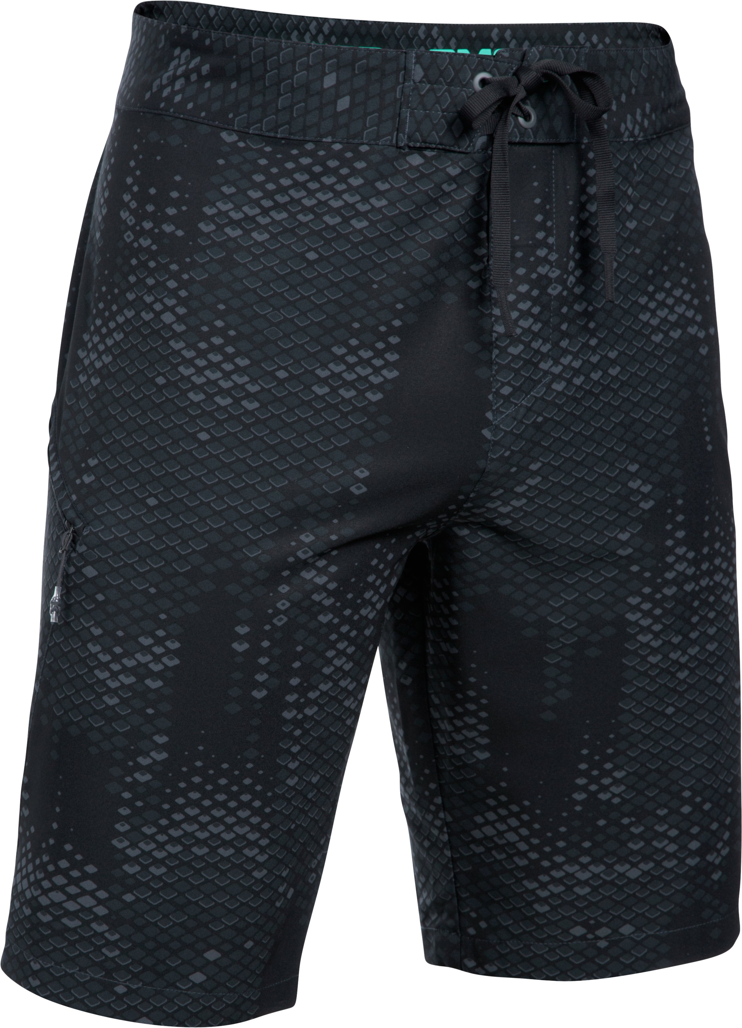 Men's UA Stretch Printed Boardshorts, STEALTH GRAY, undefined