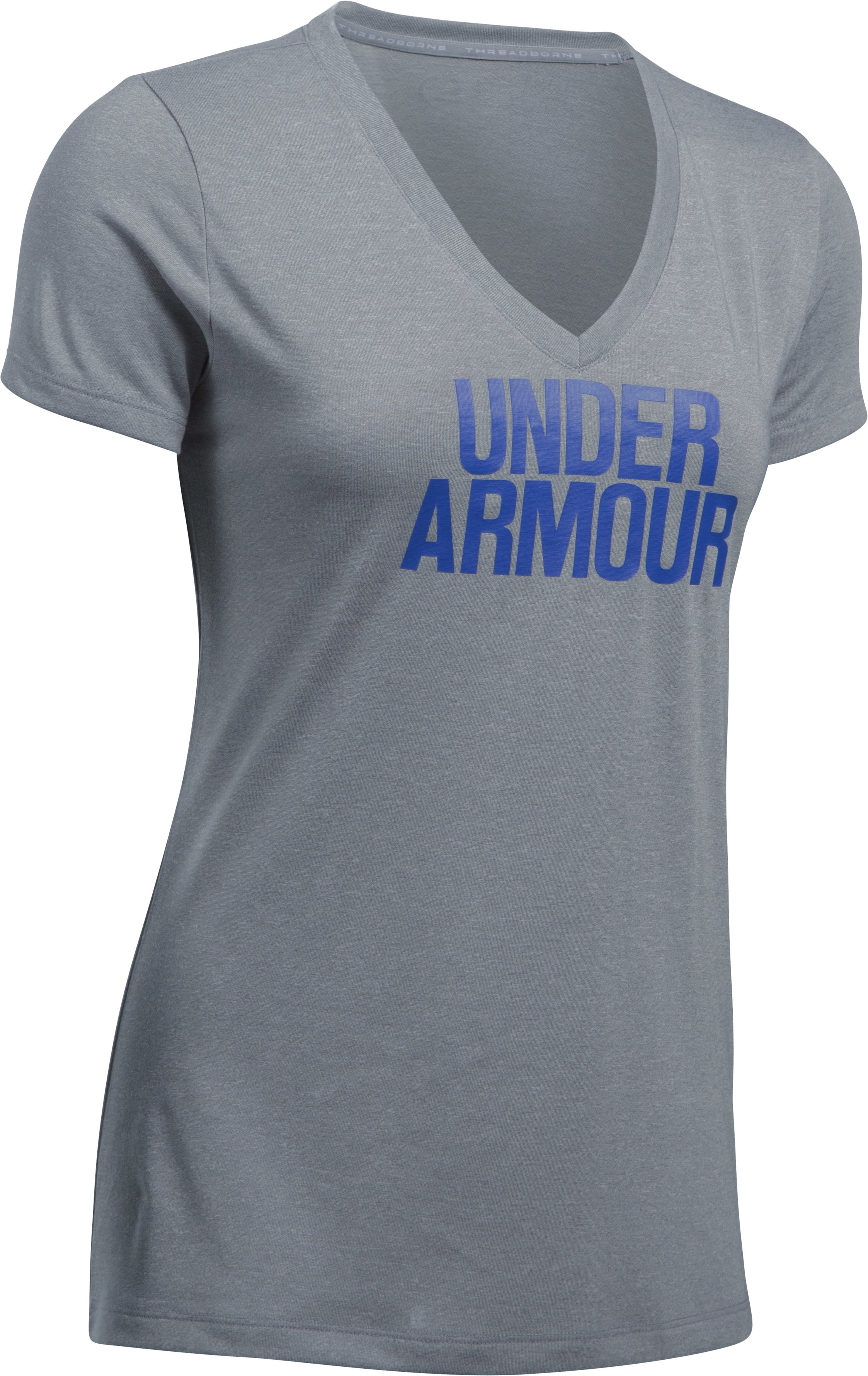 Women's UA Threadborne Train Wordmark V-Neck - Twist, Steel, undefined