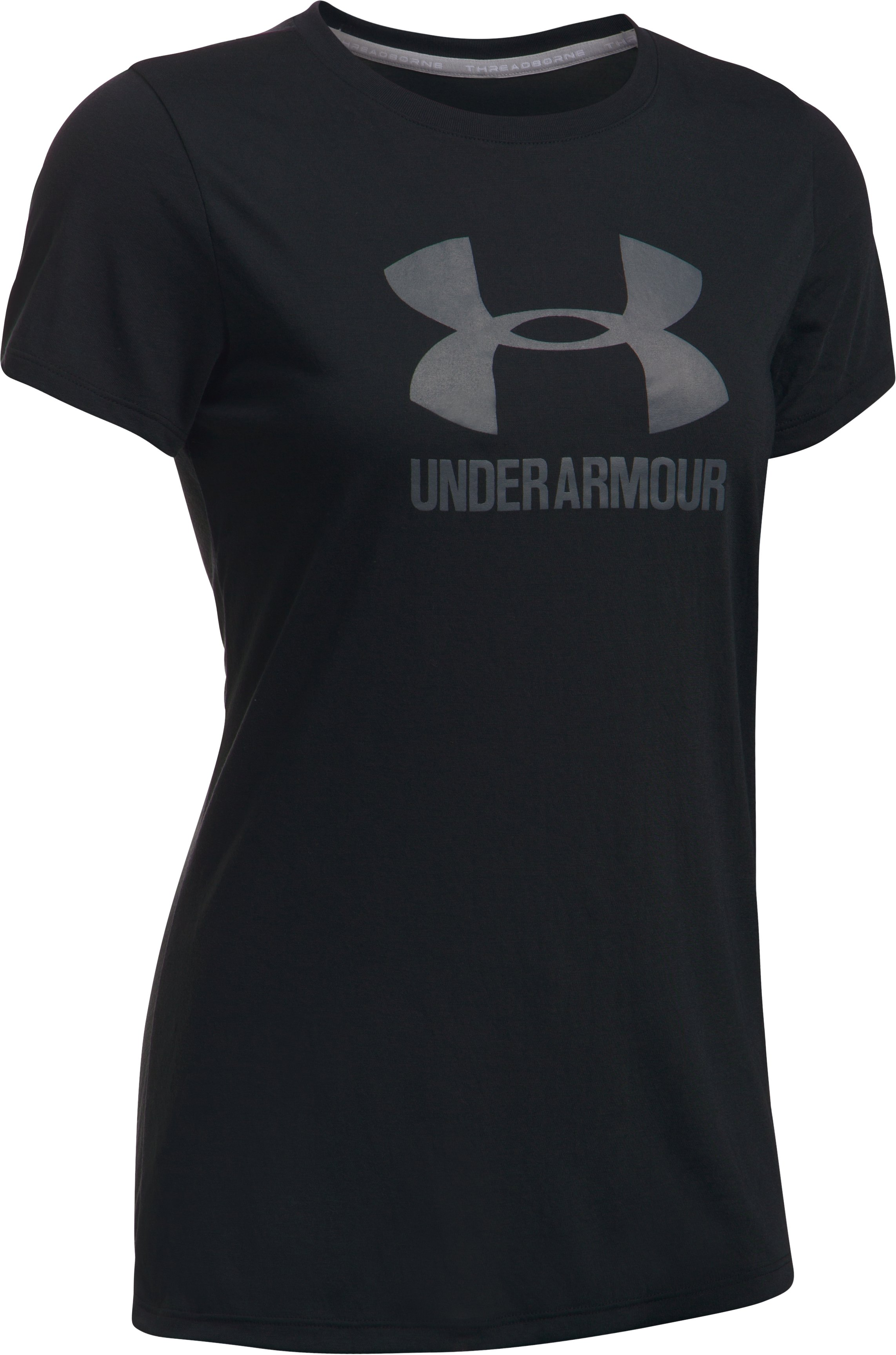Women's UA Threadborne Sportstyle Crew, Black ,