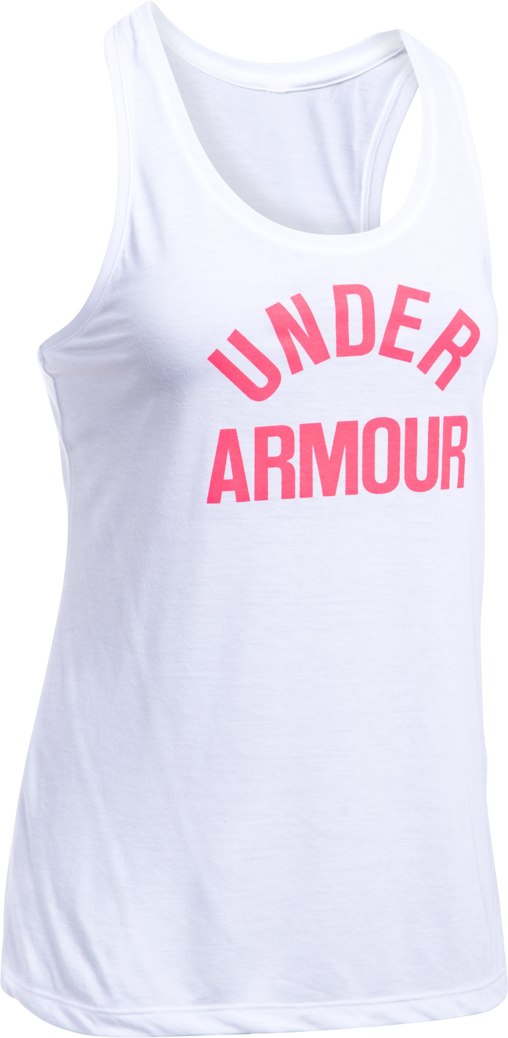 Women's UA Threadborne Train Wordmark Tank, White, undefined