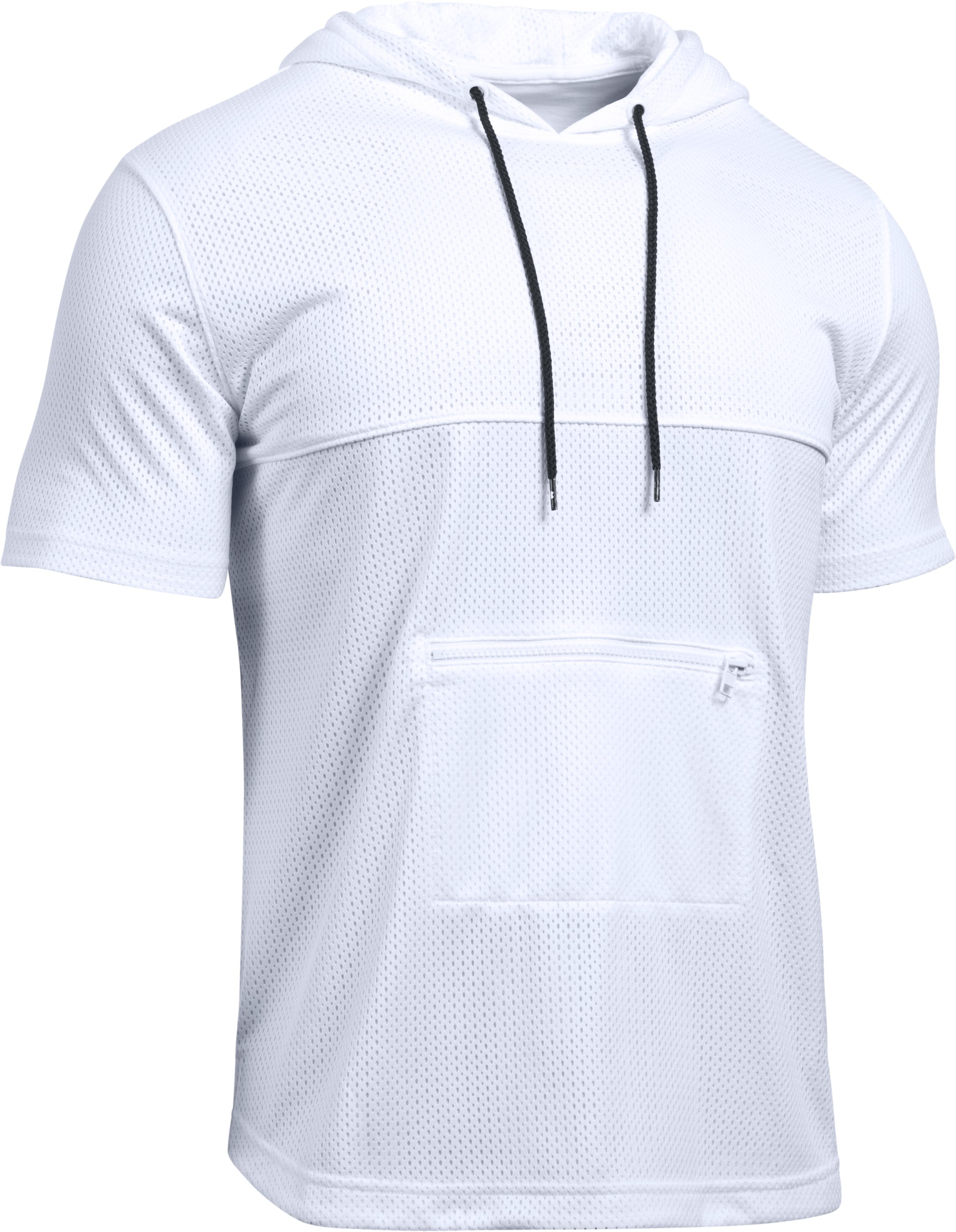 Men's UA Pursuit Mesh Hooded T-Shirt , White, undefined