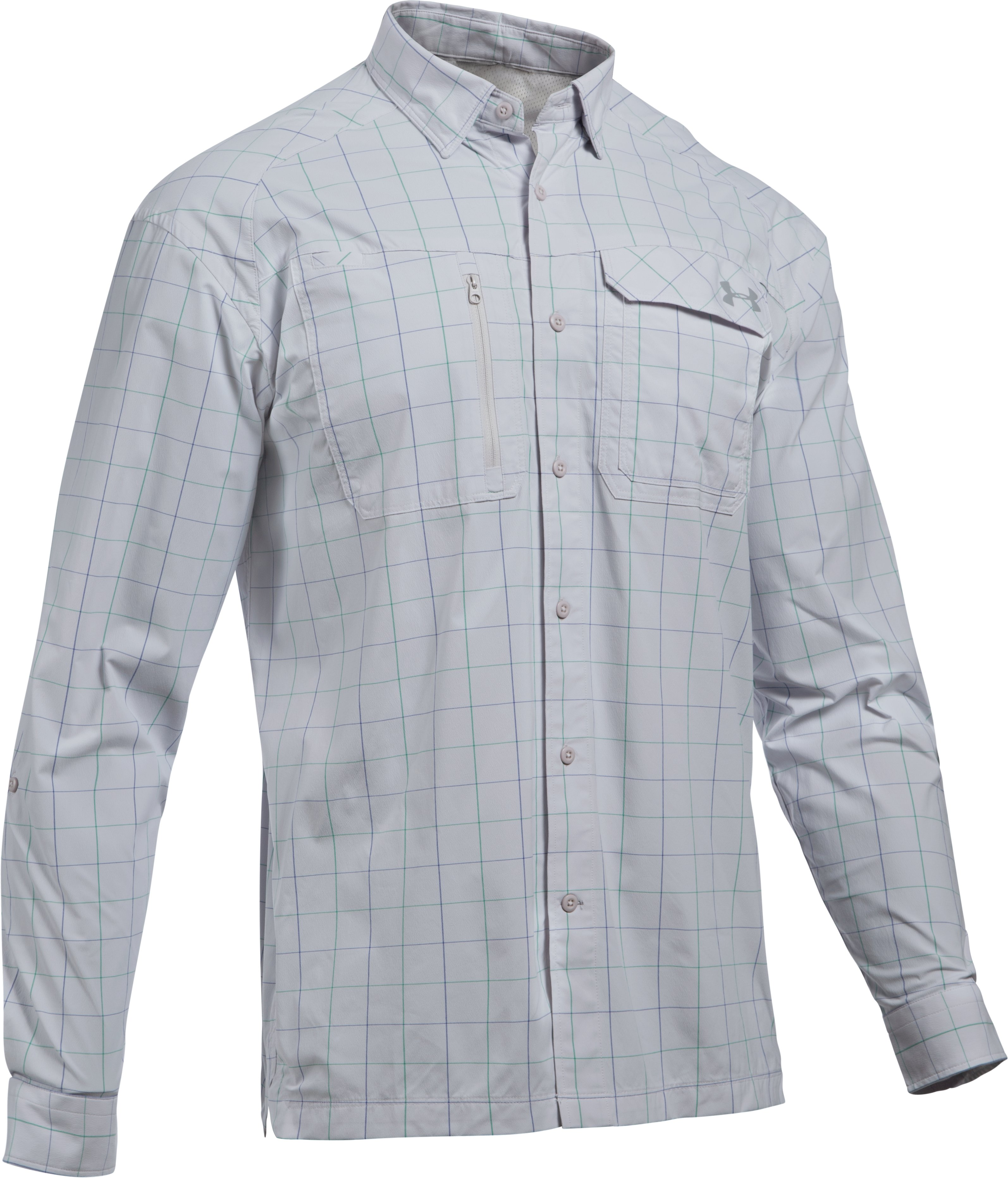 Men's UA Fish Hunter Plaid Long Sleeve, GLACIER GRAY,