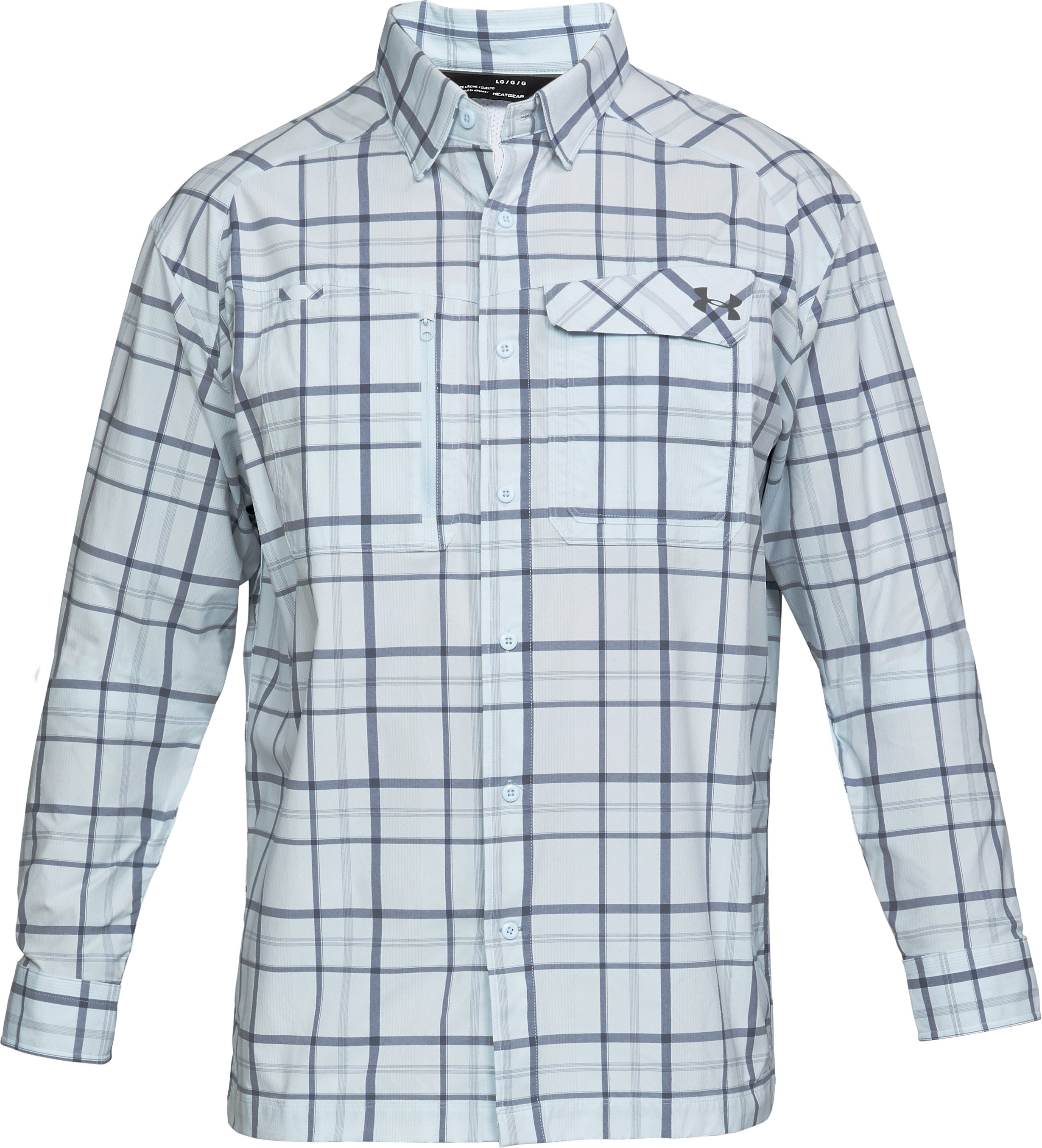 Men's UA Fish Hunter Plaid Long Sleeve, HALOGEN BLUE,