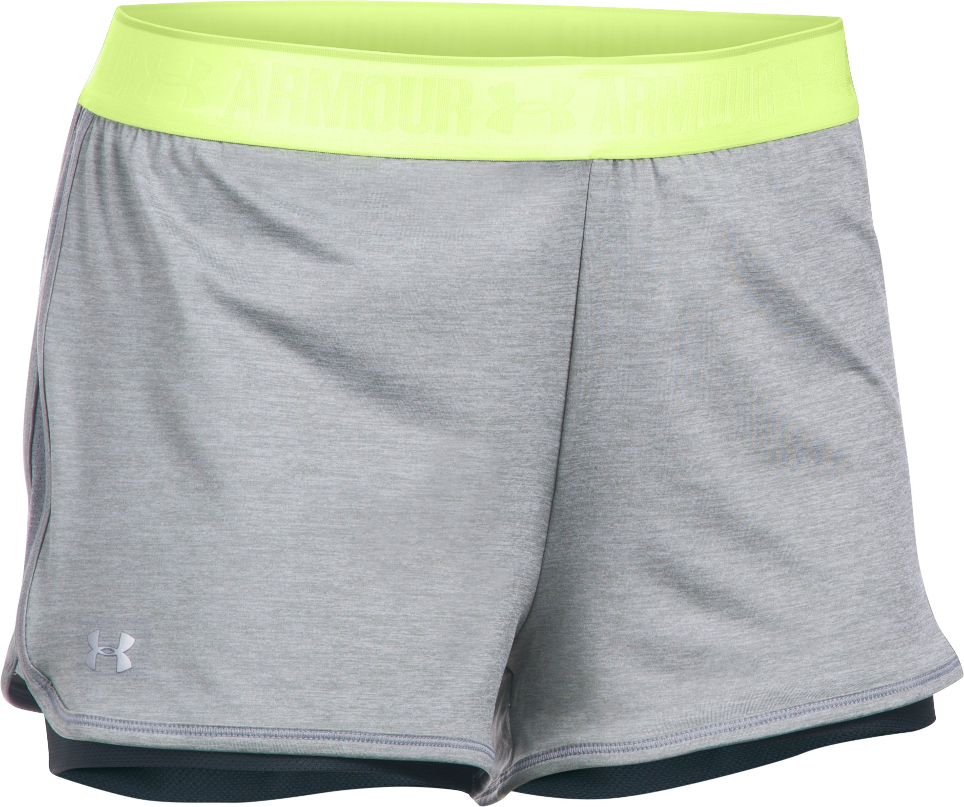 Women's UA HeatGear® Armour 2-In-1 Shorty, True Gray Heather, undefined