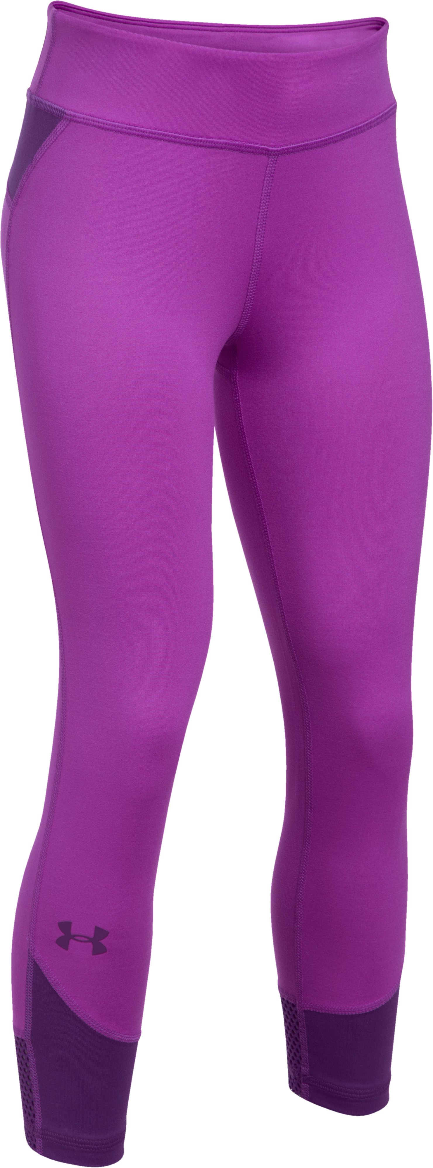Girls' UA Finale Capris, PURPLE RAVE