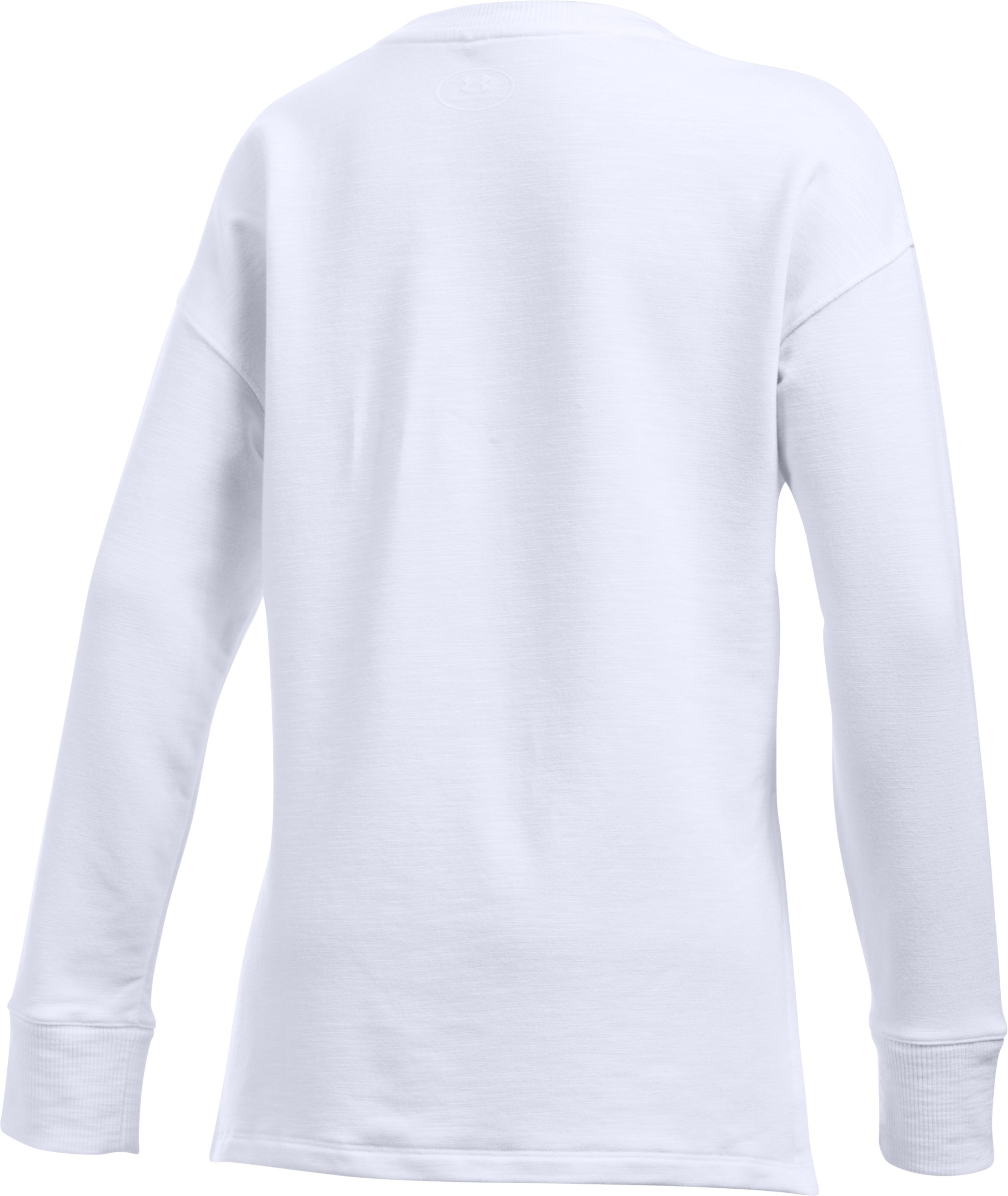Girls' UA Stretch French Terry Pullover, White, undefined