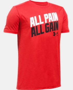 New Arrival Boys' UA All Pain No Gain T-Shirt   $19.99