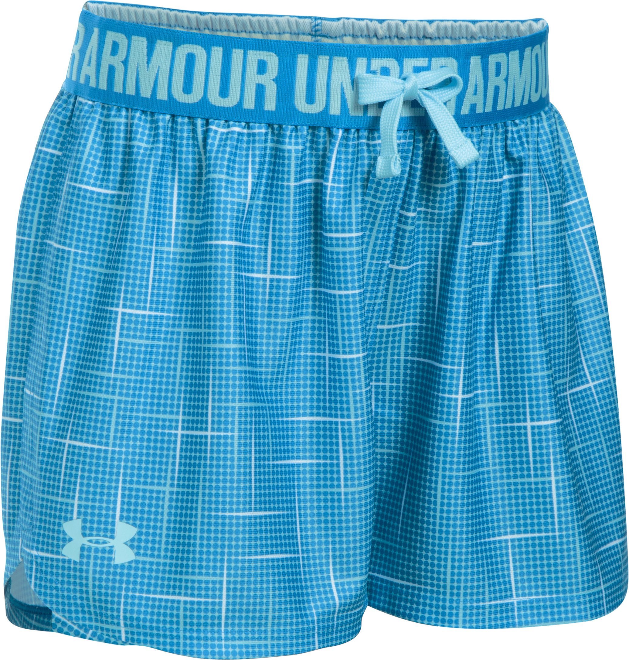 Girls' UA Play Up Printed Shorts, OPAL BLUE, undefined