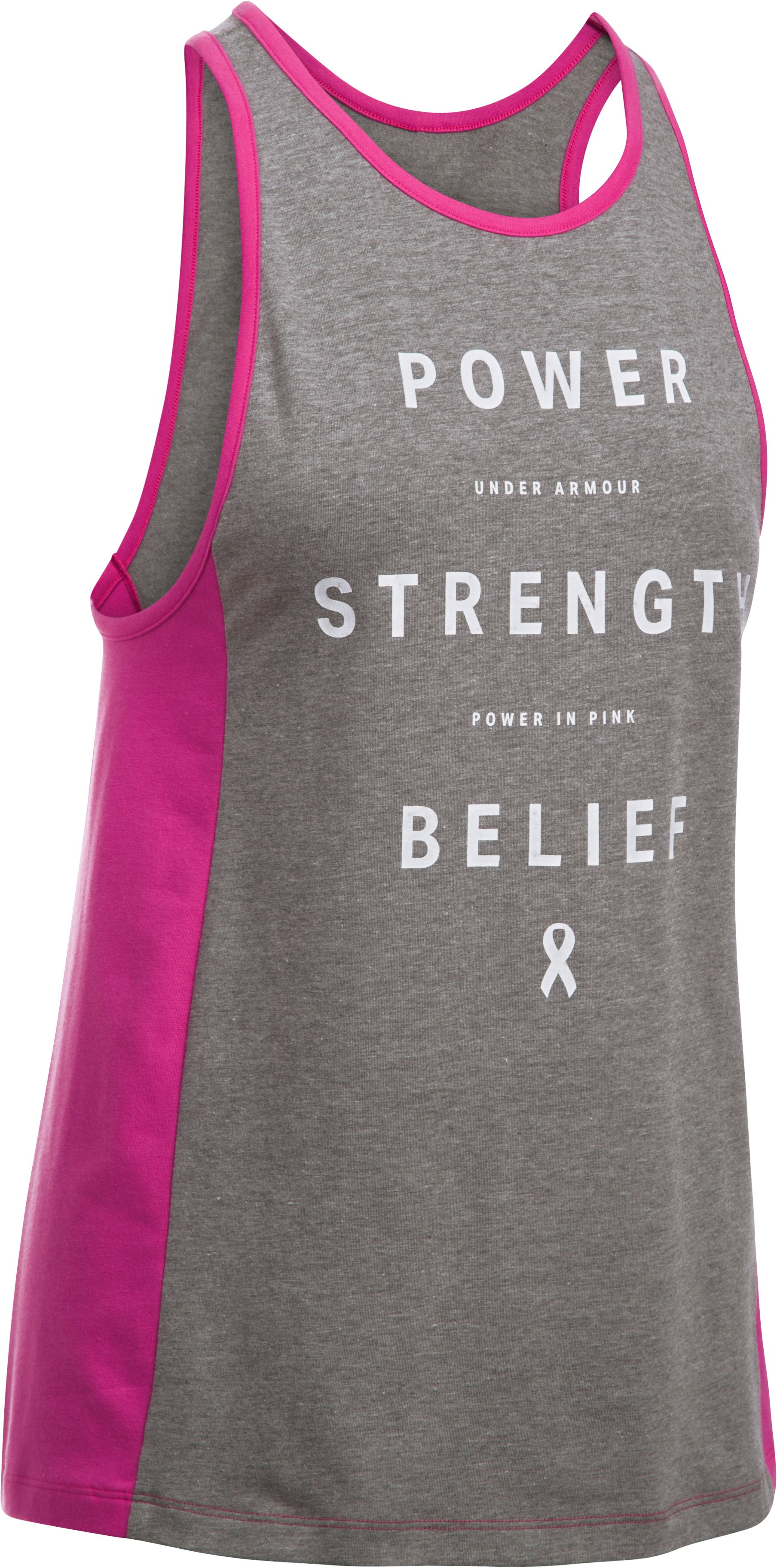 Women's UA Power In Pink® Inset Tank, Carbon Heather,