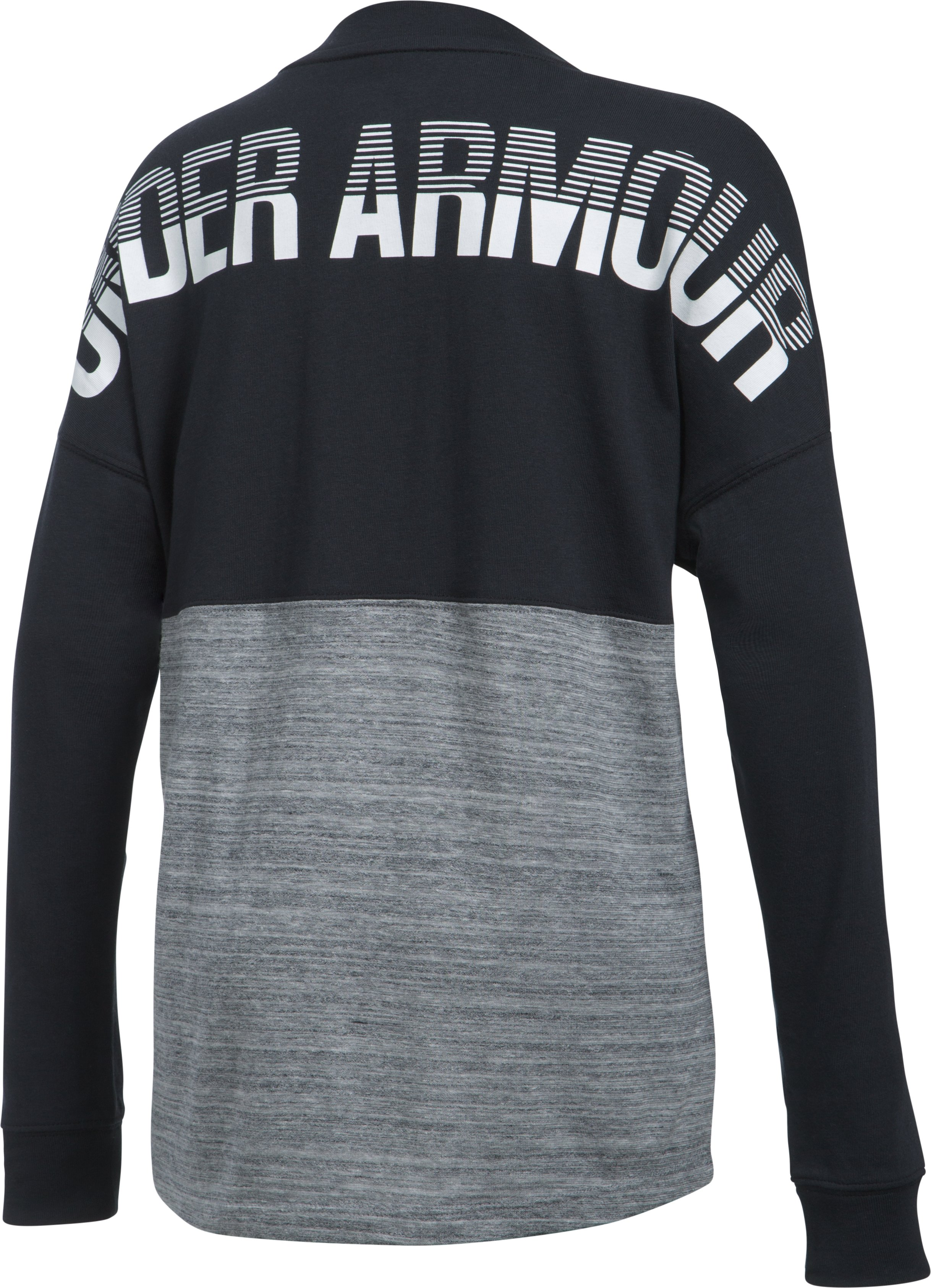 Girls' UA Varsity Crew Long Sleeve, Black , zoomed image